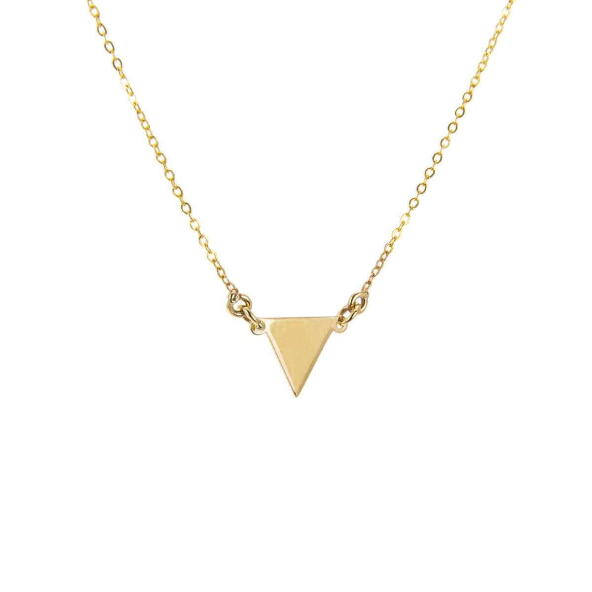 9ct Yellow Gold Flat Triangle Pendant Necklace