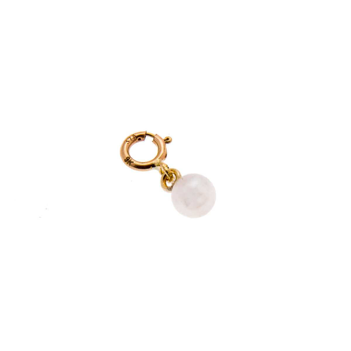 9ct Gold 4mm White Freshwater Pearl Clip on Charm