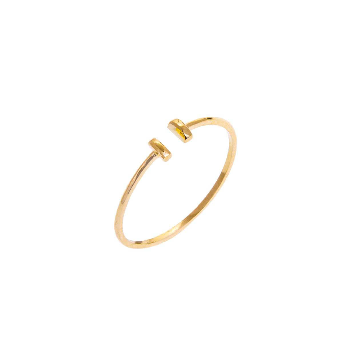 9ct Yellow Gold Double Bar Cuff Adjustable Open Ring