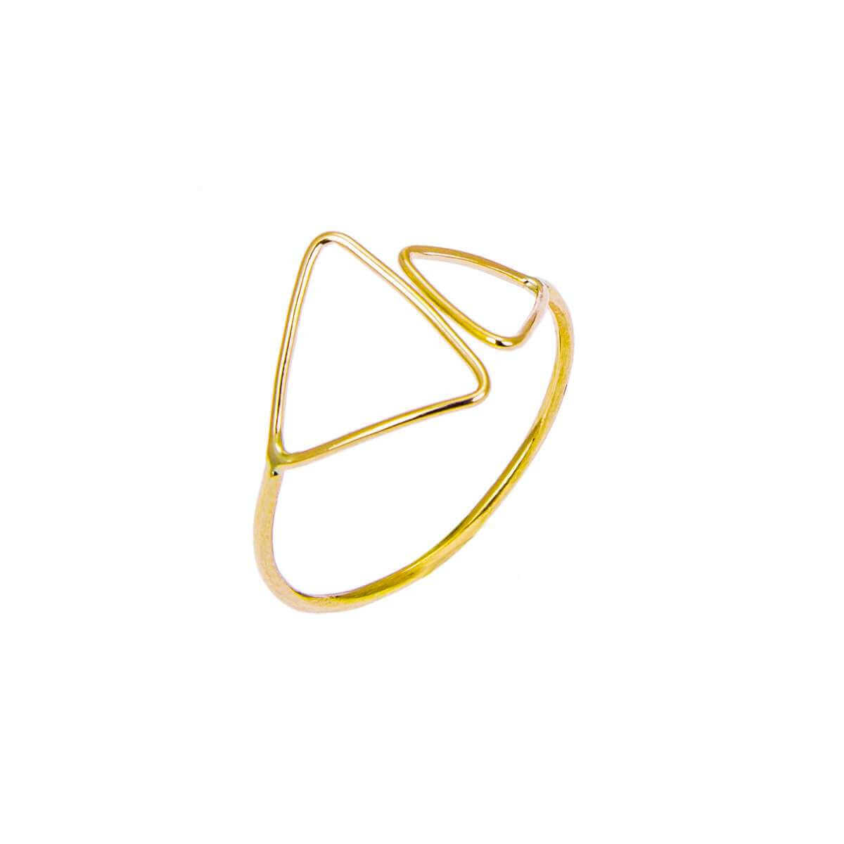 9ct Yellow Gold Double Open Triangle Adjustable Ring