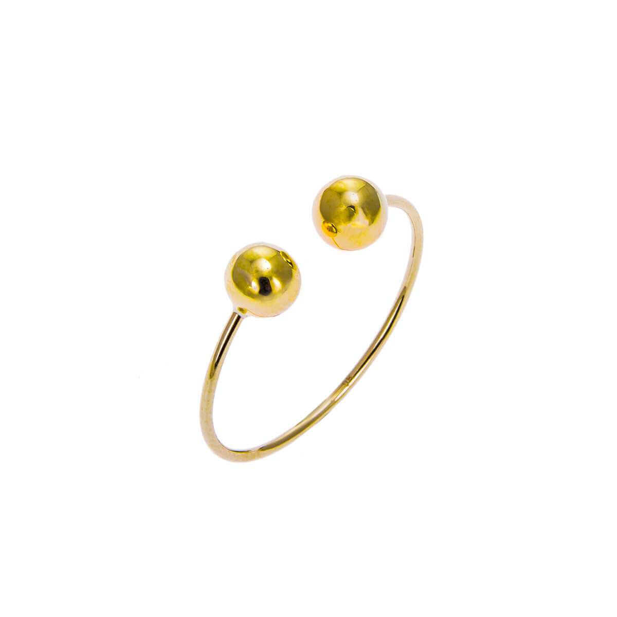 9ct Yellow Gold Double Ball Adjustable Open Ring