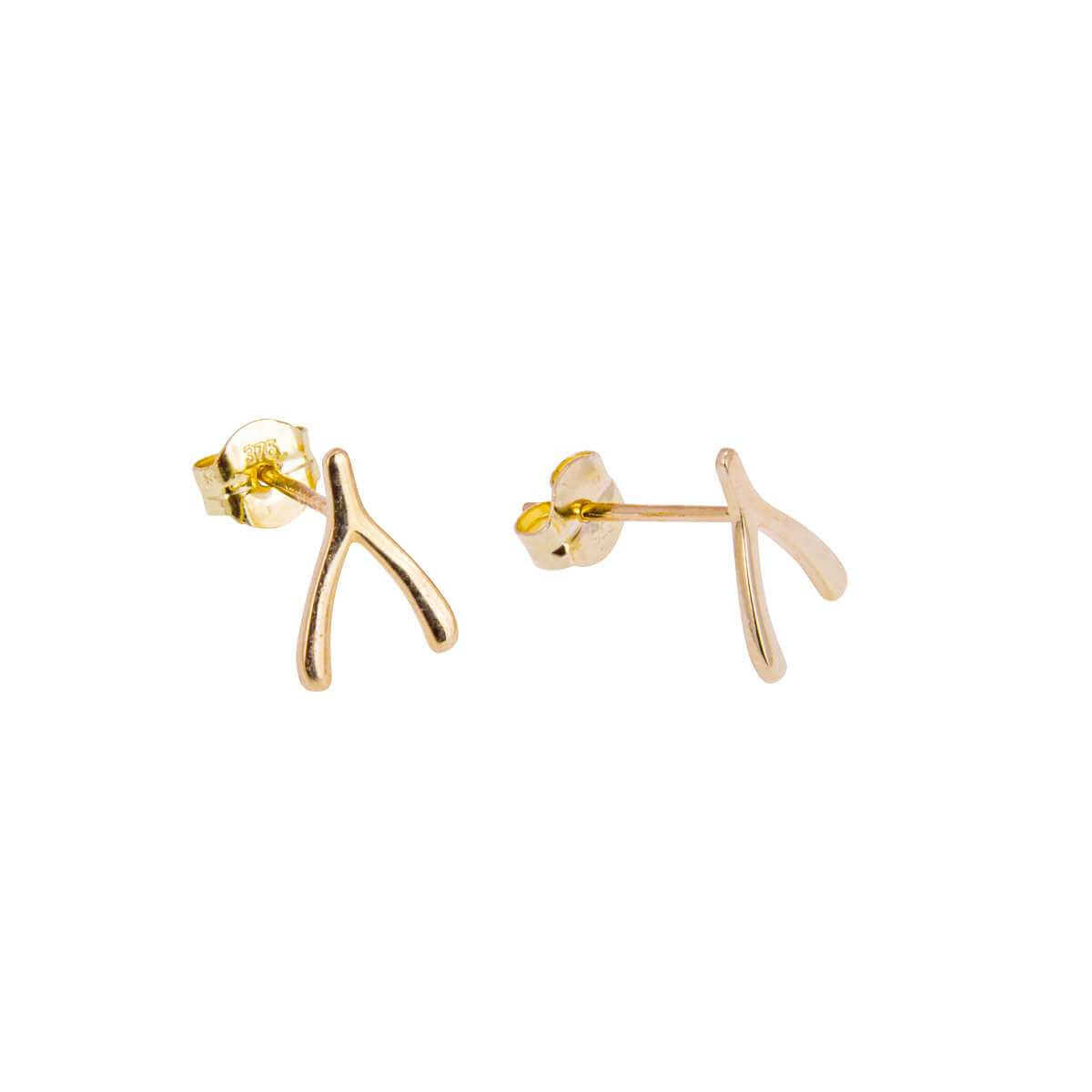 9ct Gold Wishbone Stud Earrings