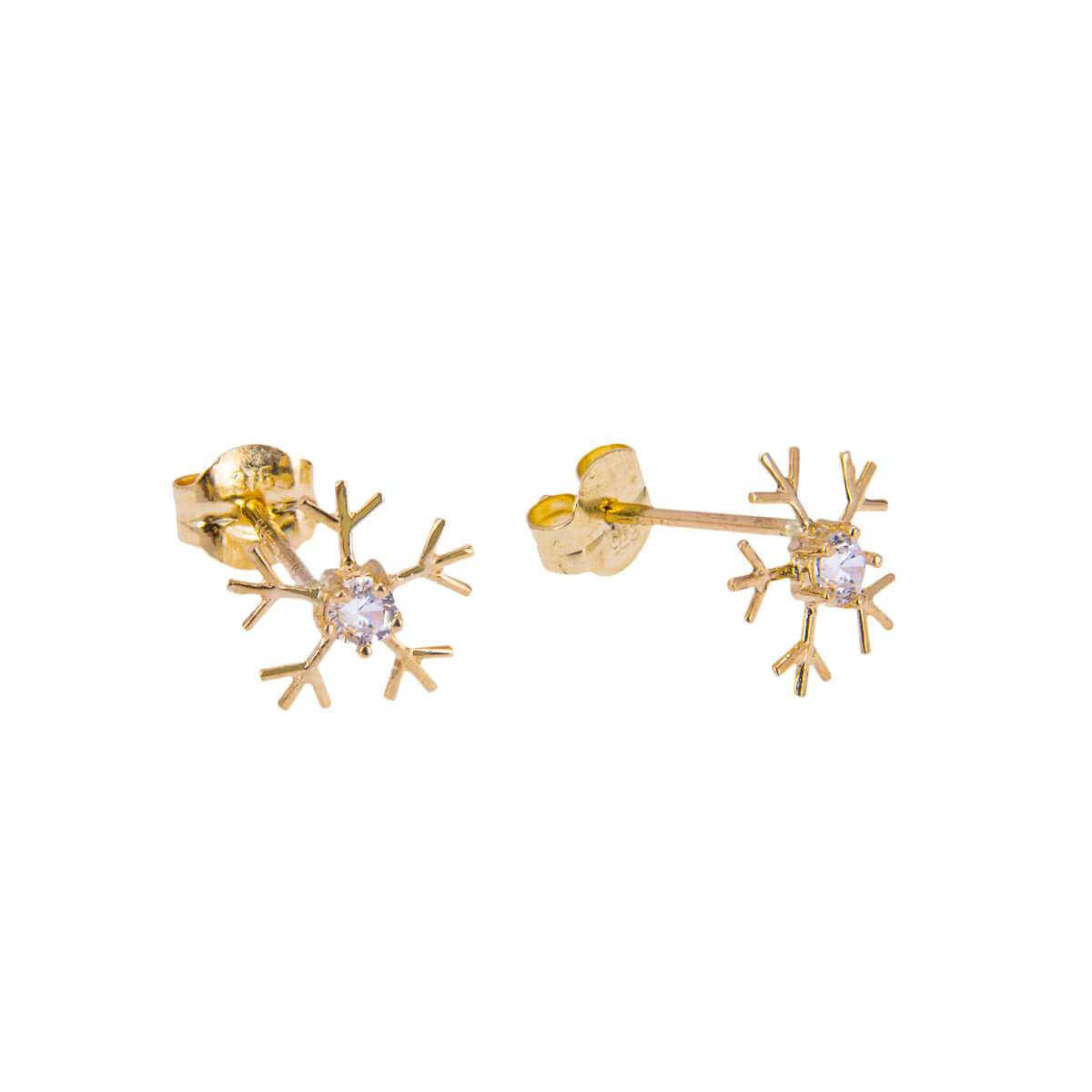9ct Gold Snowflake Clear CZ Stud Earrings