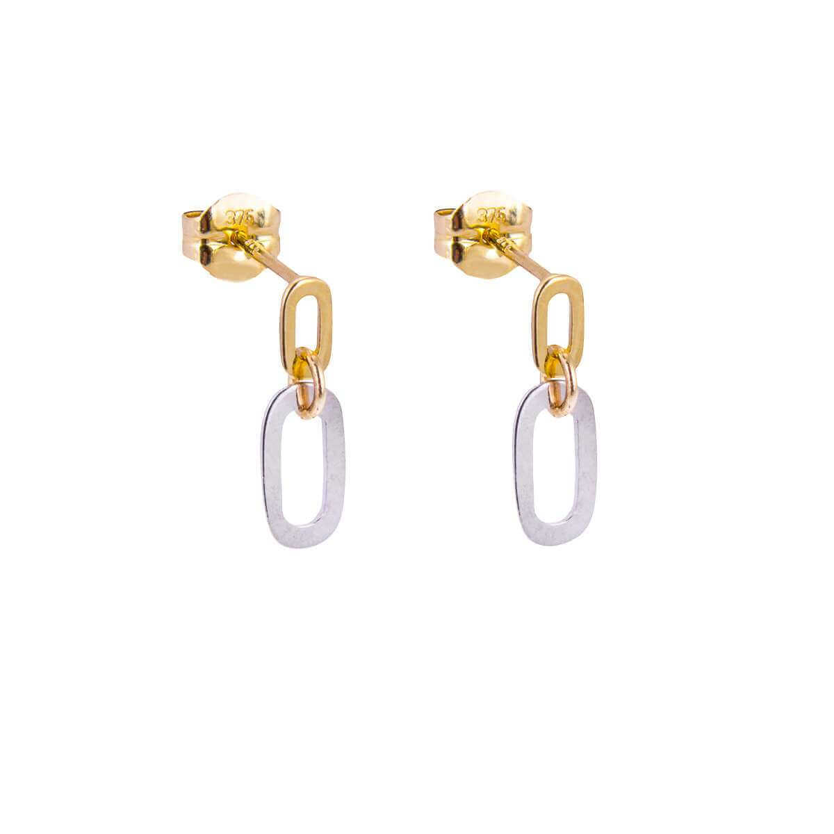 9ct Yellow White Mixed Gold Minimal Double Loop Stud Drop Earrings
