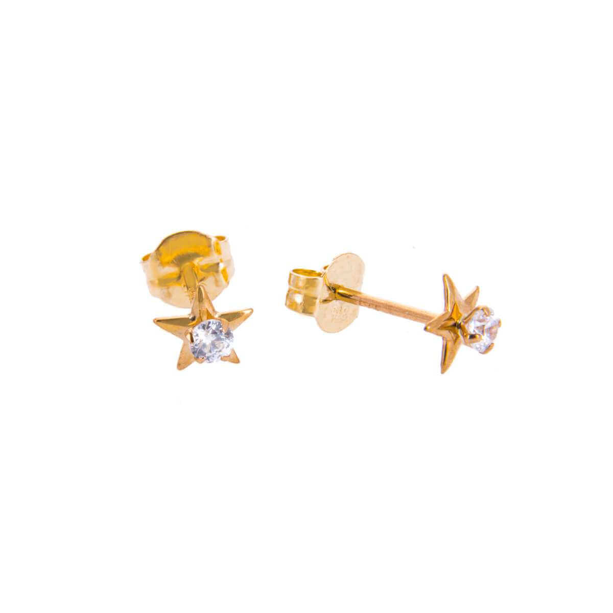 9ct Gold Clear CZ Star Stud Earrings