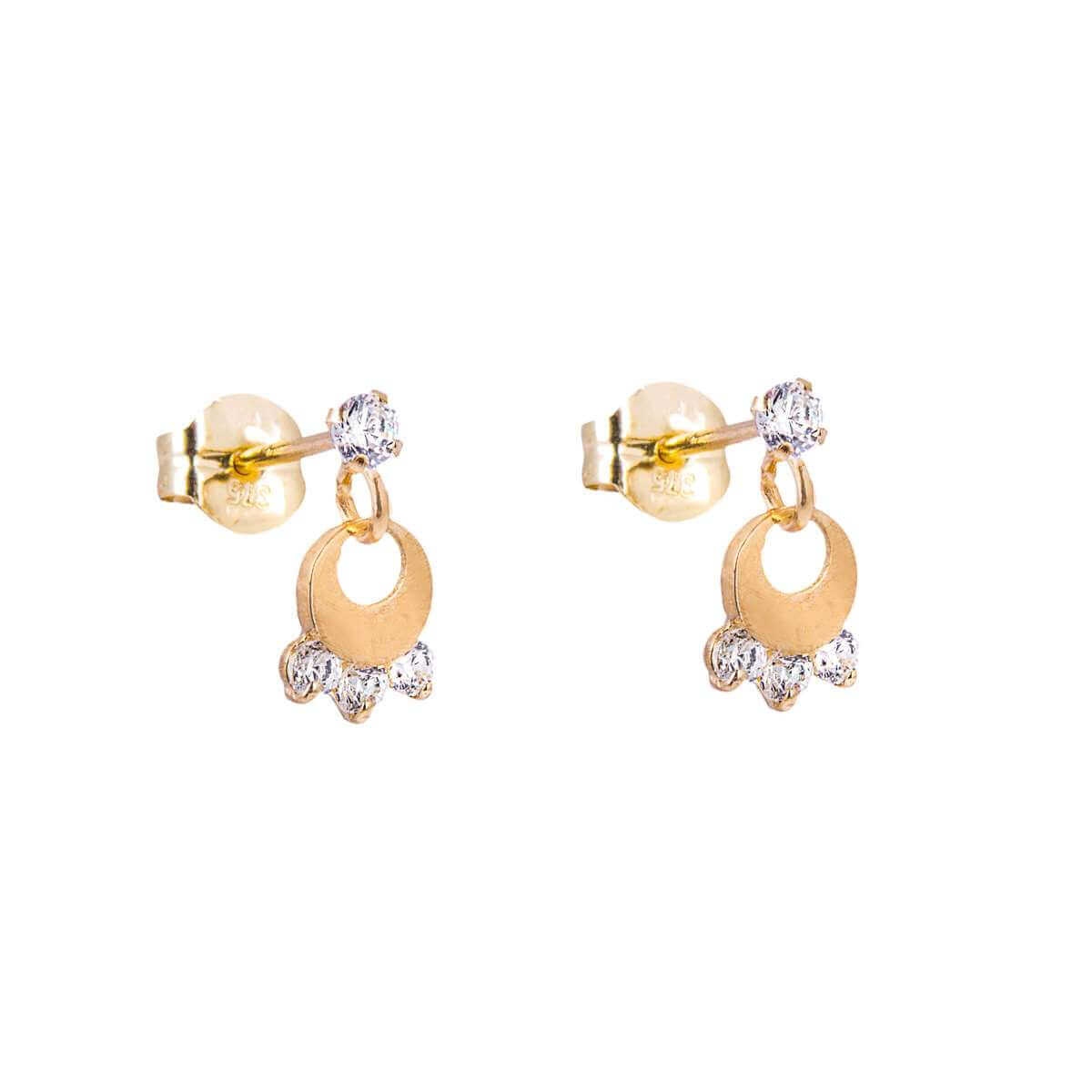 9ct Gold Clear CZ Chandelier Stud Drop Earrings