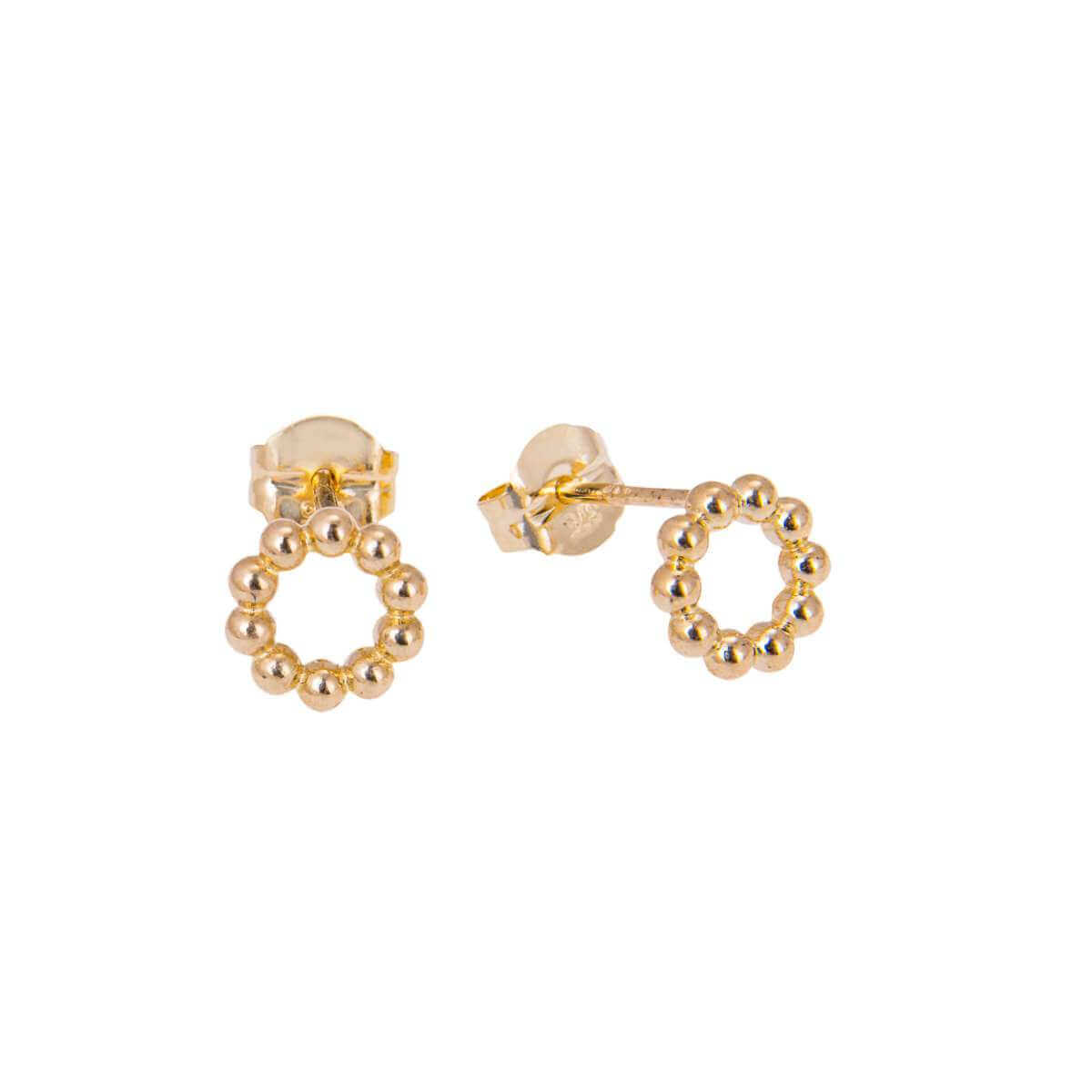 9ct Gold Bobble Beaded Open Circle Stud Earrings