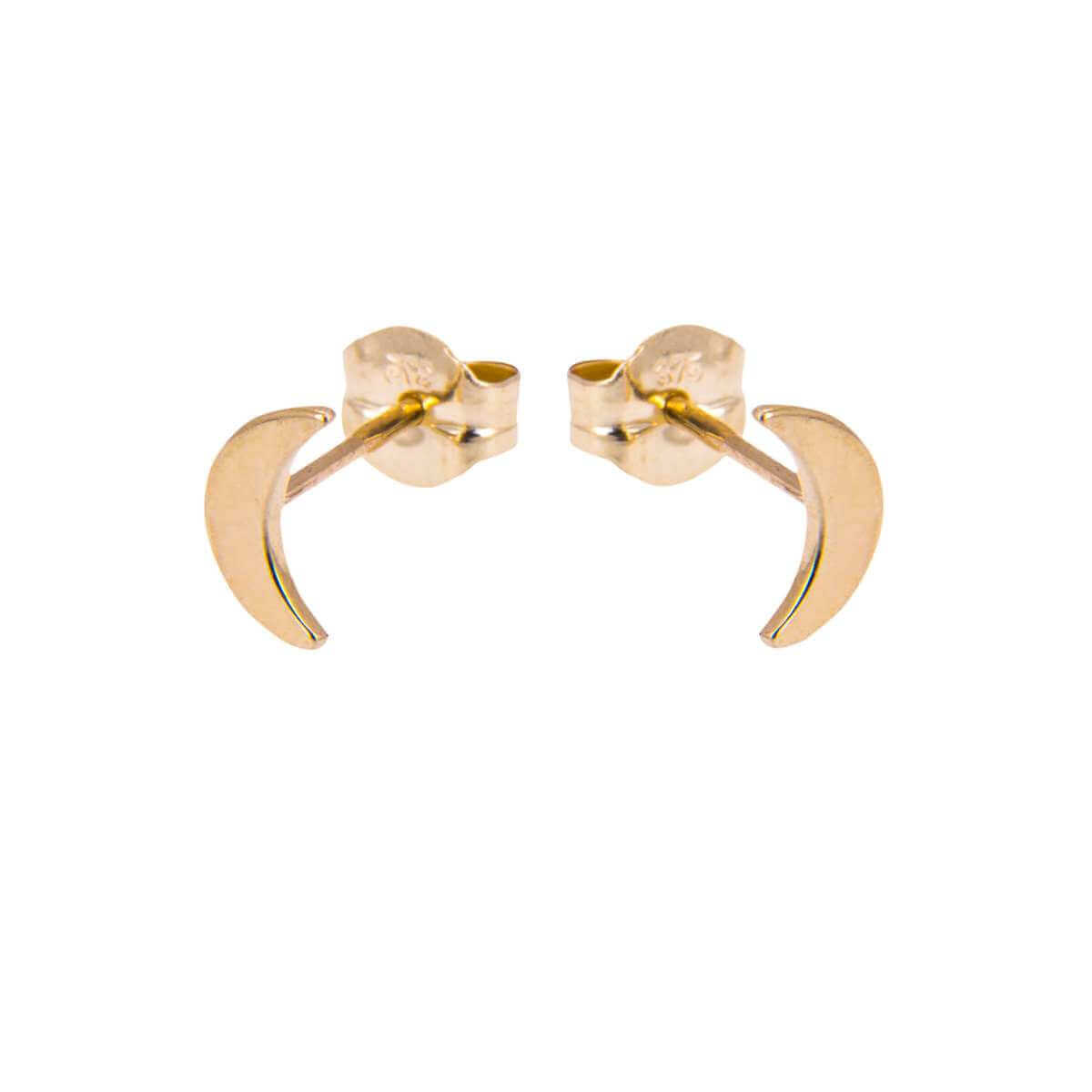 9ct Gold Flat Moon Stud Earrings