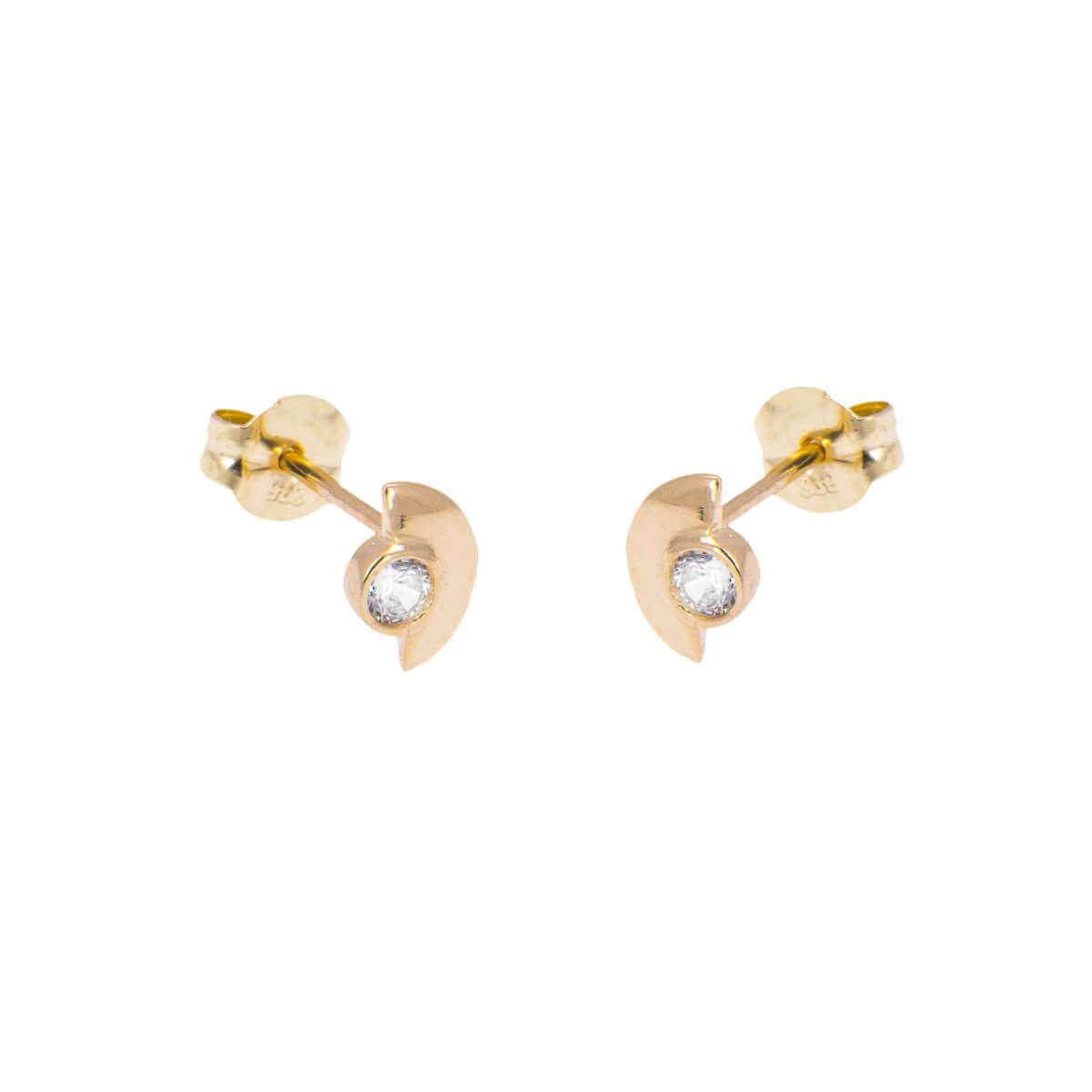 9ct Gold Clear CZ Minimal Semi Circle Stud Earrings
