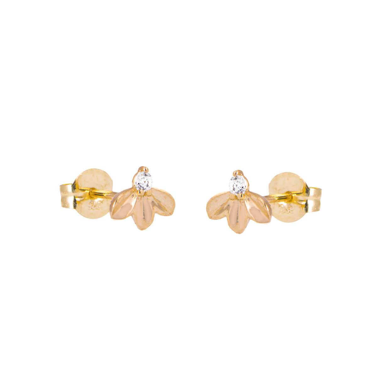 9ct Gold Clear CZ Triple Leaves Stud Earring