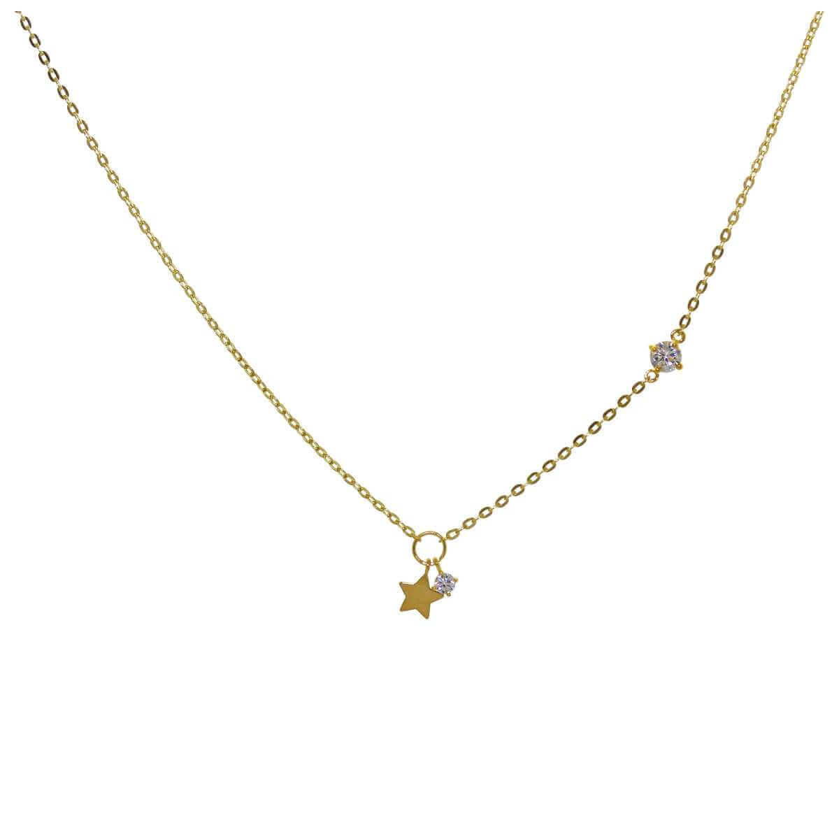 9ct Gold Clear CZ Star Necklace