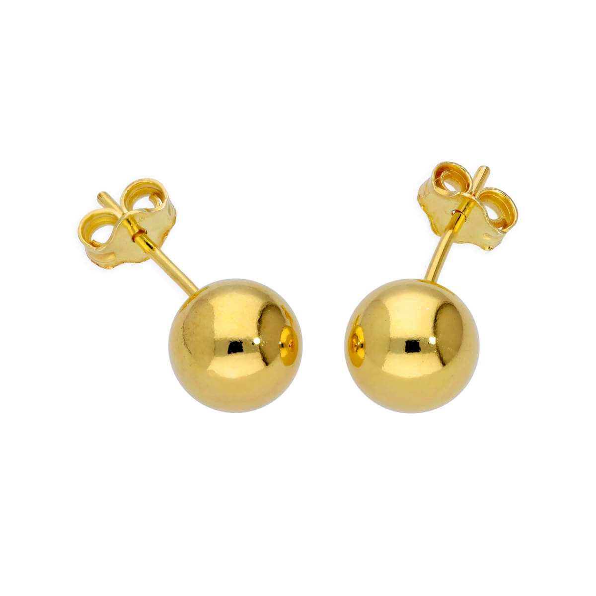 Yellow Gold Plated Sterling Silver Lightweight 7mm Ball Stud Earrings