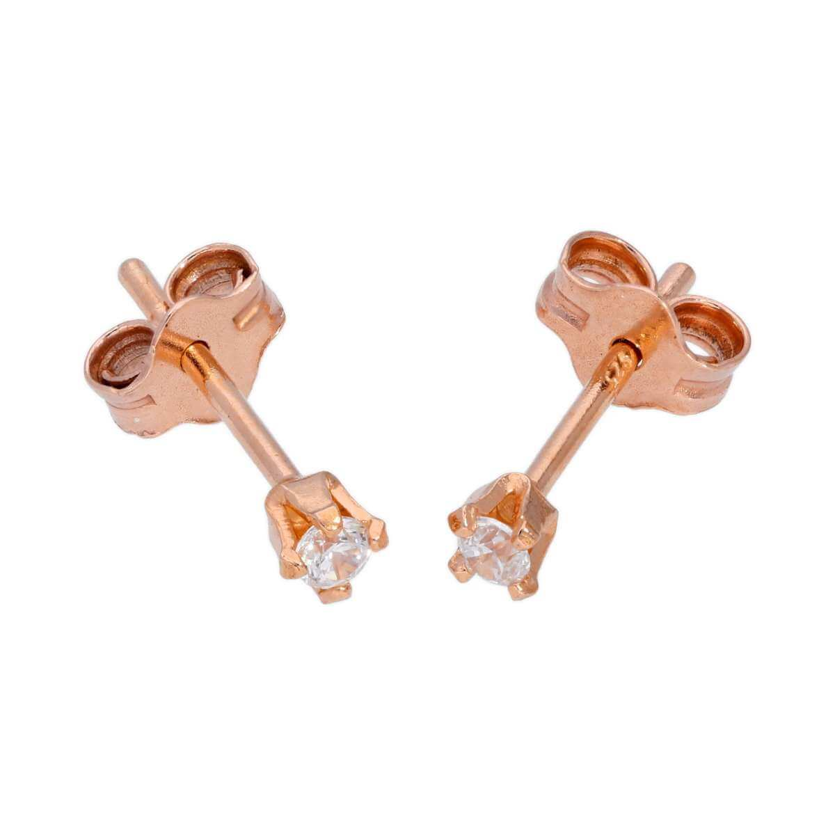 Rose Gold Plated Sterling Silver & 2mm Round CZ Crystal Stud Earrings