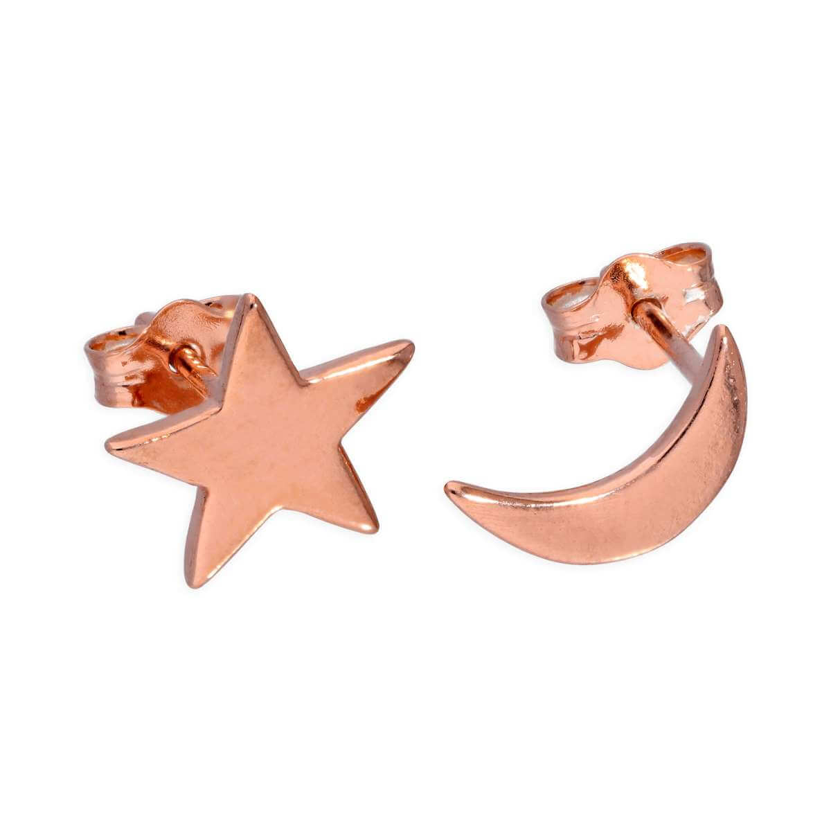 Rose Gold Plated Sterling Silver Moon & Star Stud Earrings