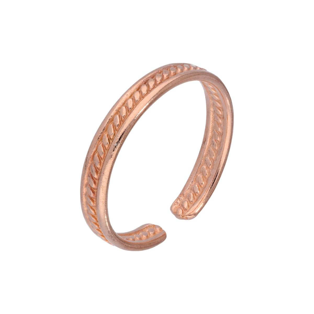 Rose Gold Plated Sterling Silver Ribbed Adjustable 3mm Toe Ring