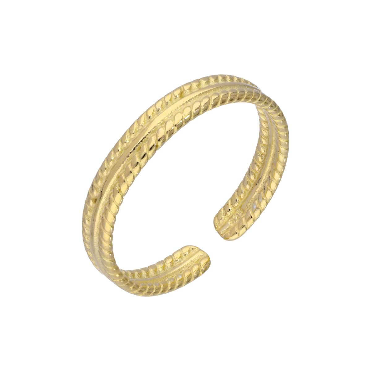 Yellow Gold Plated Sterling Silver Adjustable Ribbed Midi Toe Ring