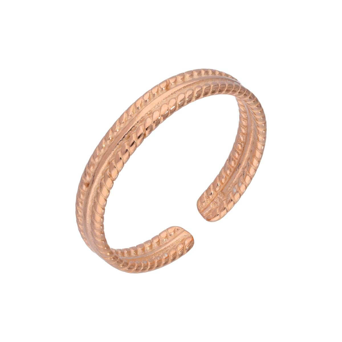 Rose Gold Plated Sterling Silver Adjustable Ribbed Midi Toe Ring