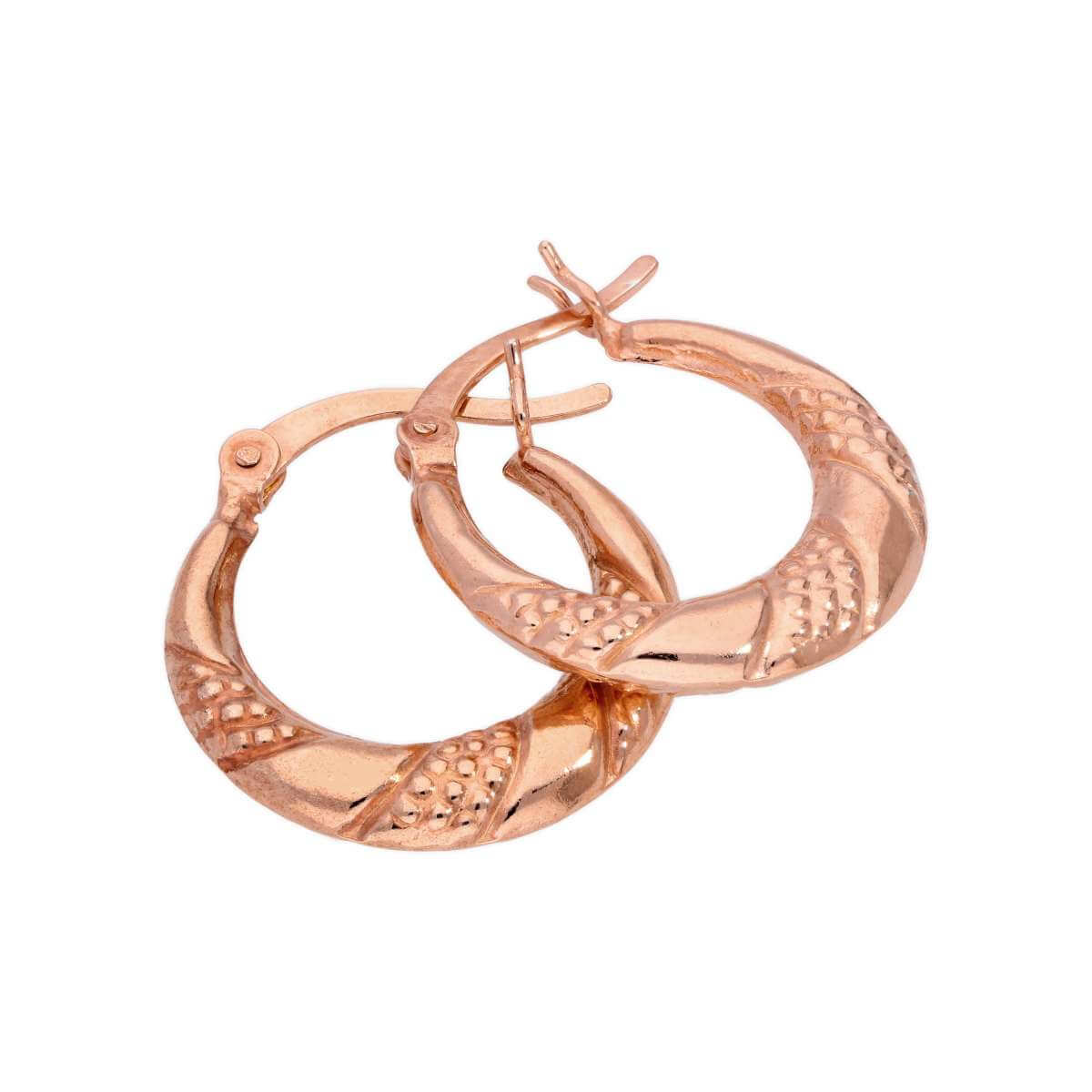 Rose Gold Plated Sterling Silver Textured Twisted Creole 18mm Hoop Earrings