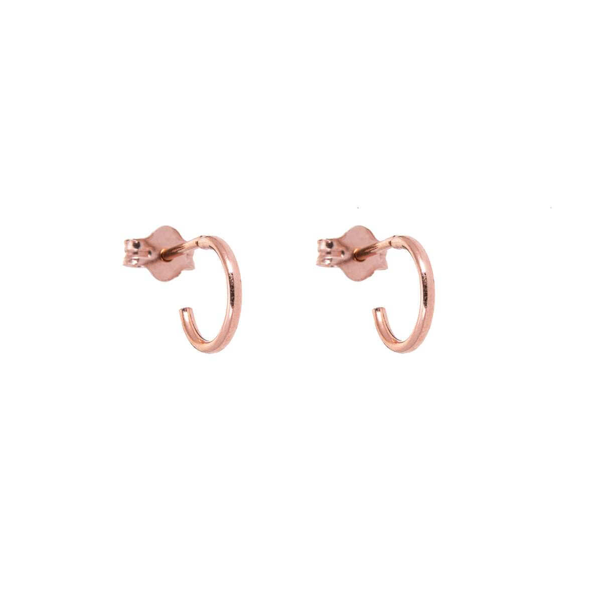 Rose Gold Plated Sterling Silver Open 8mm Hoop Stud Earrings