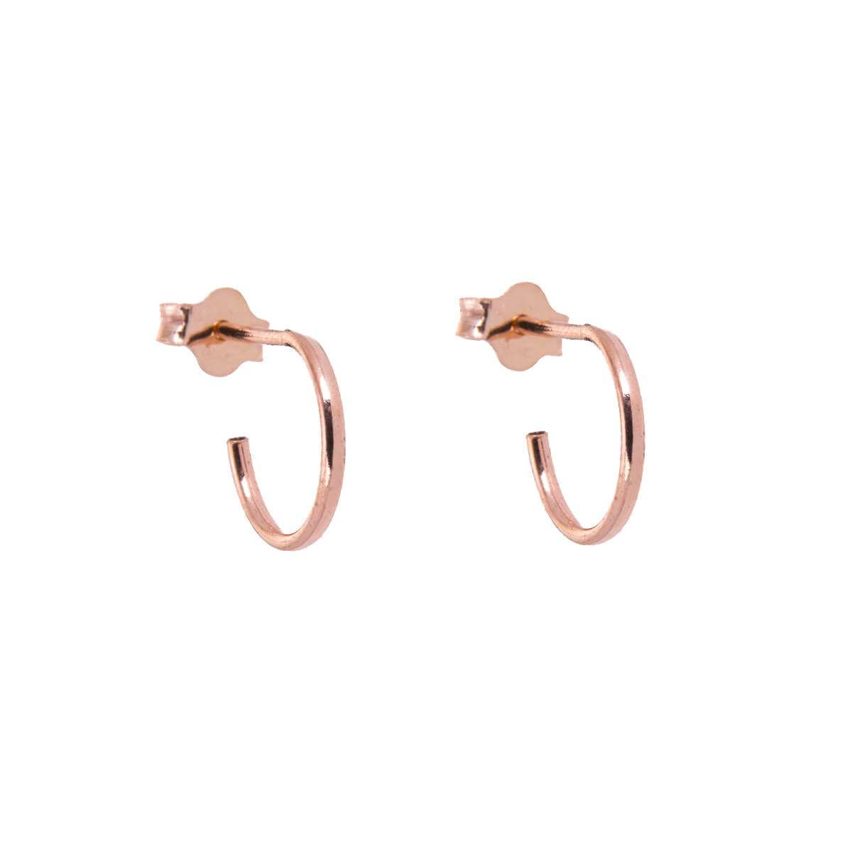 Rose Gold Plated Sterling Silver Open 10mm Hoop Stud Earrings