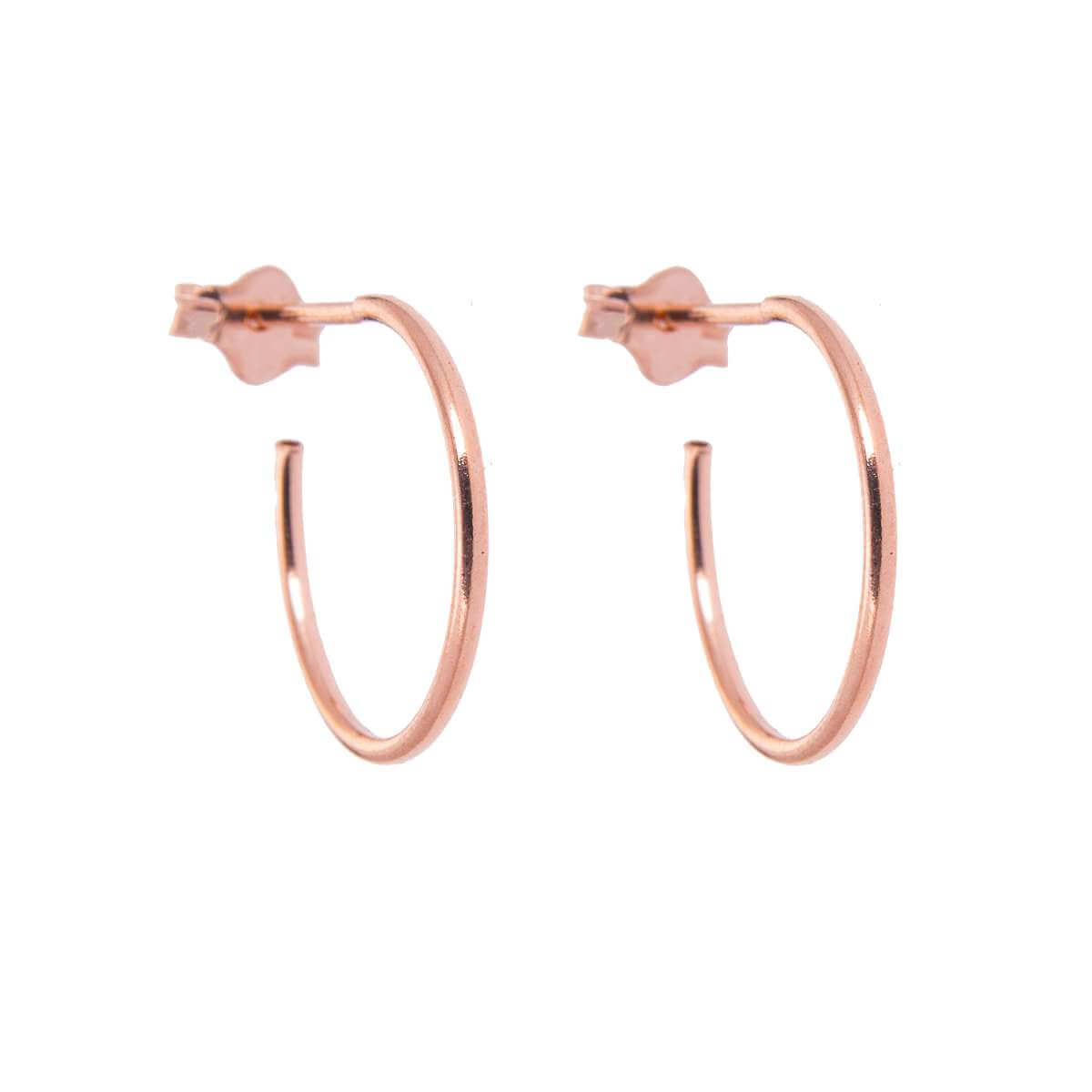 Rose Gold Plated Sterling Silver Open 16mm Hoop Stud Earrings