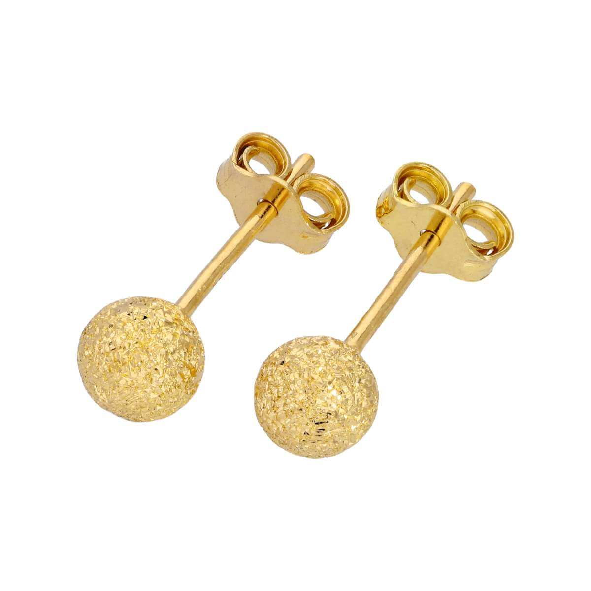 Gold Plated Frosted Sterling Silver Ball Stud Earrings 5mm