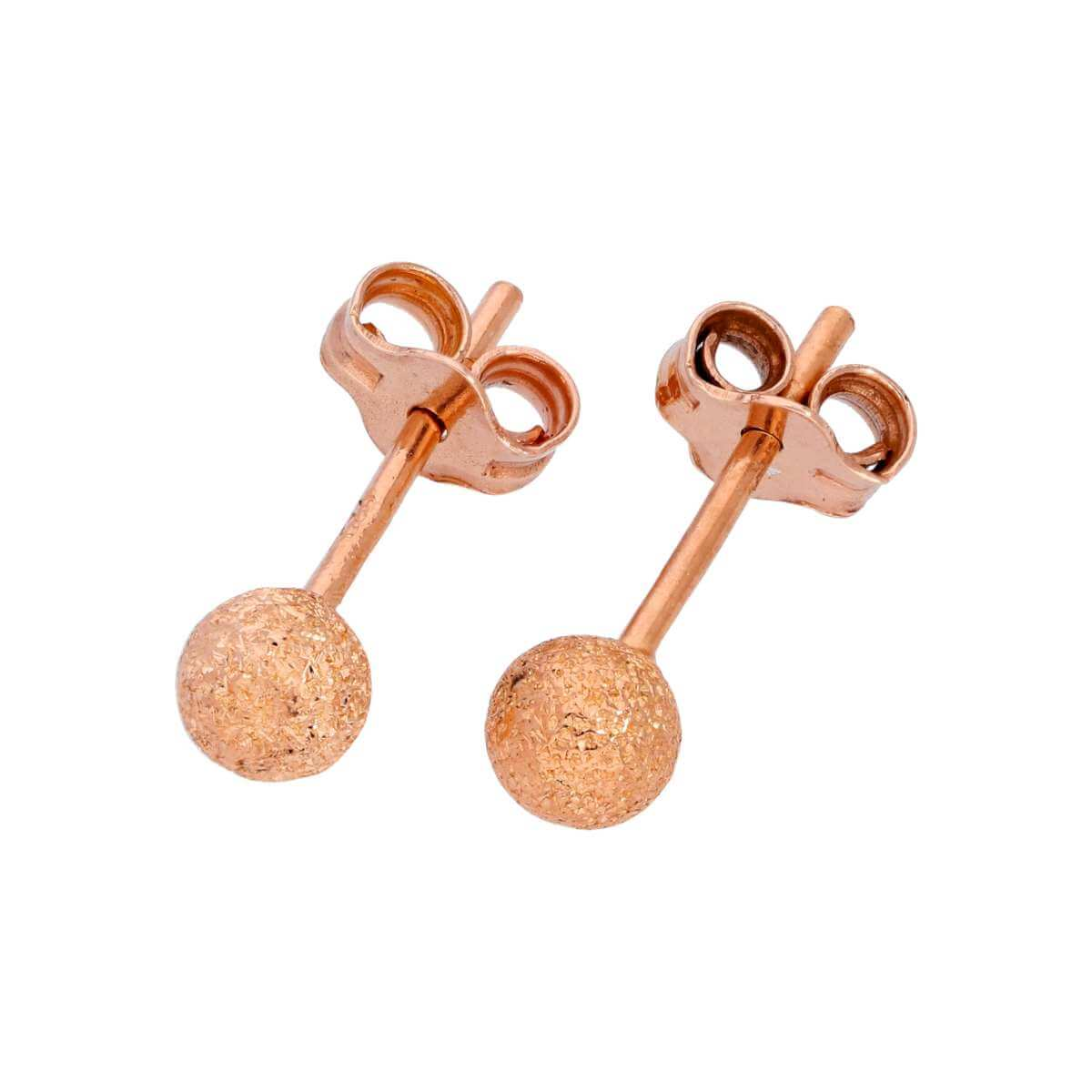 Rose Gold Plated Frosted Sterling Silver Ball Stud Earrings 4mm