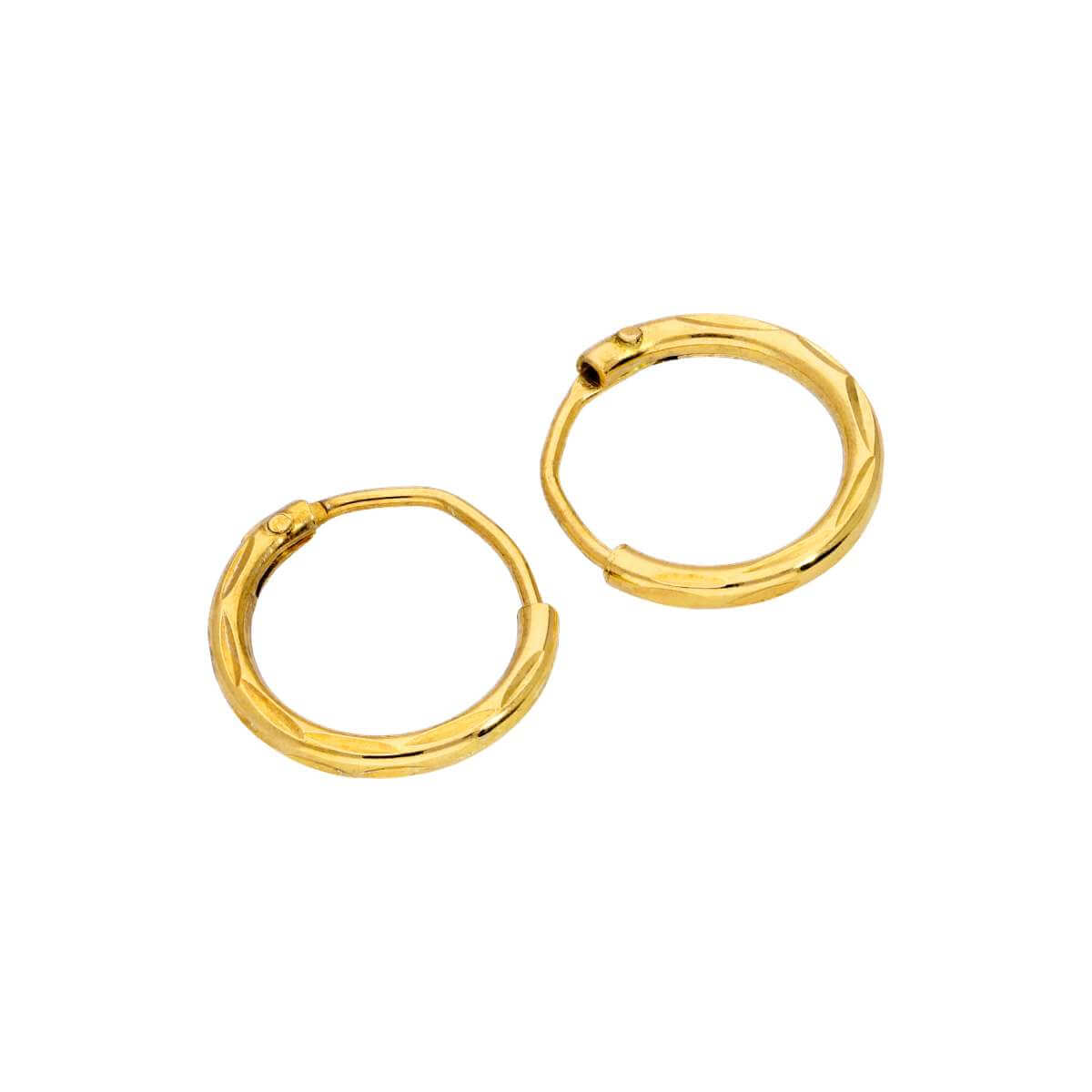 Yellow Gold Plated Sterling Silver Diamond Cut Sleeper 10mm Hoop Earrings