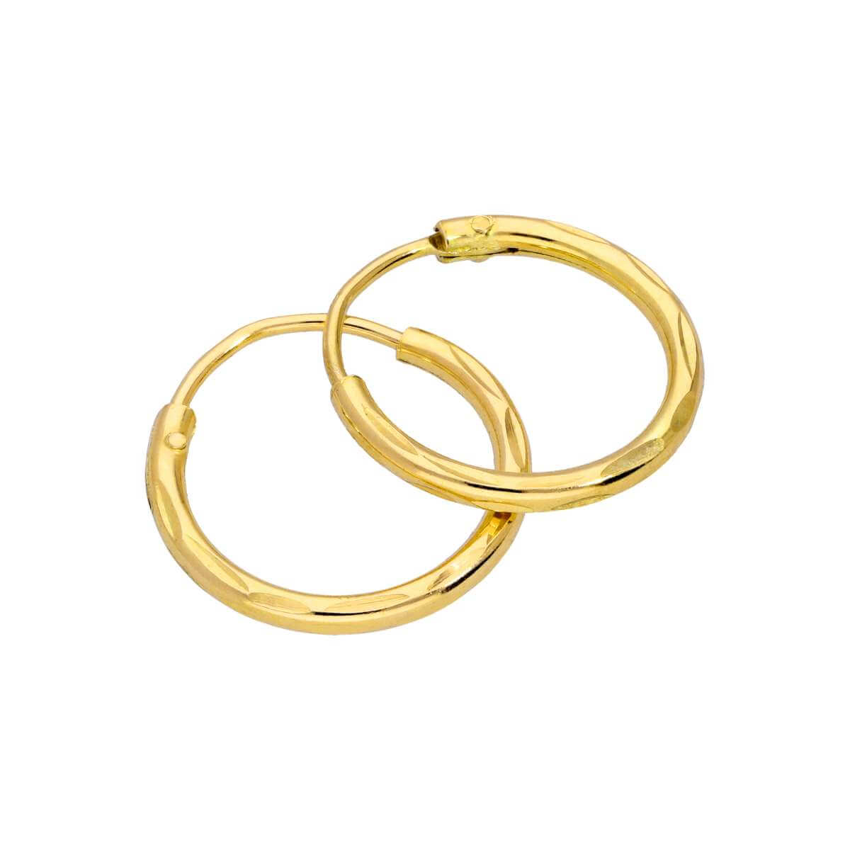 Yellow Gold Plated Sterling Silver Diamond Cut Sleeper 12mm Hoop Earrings