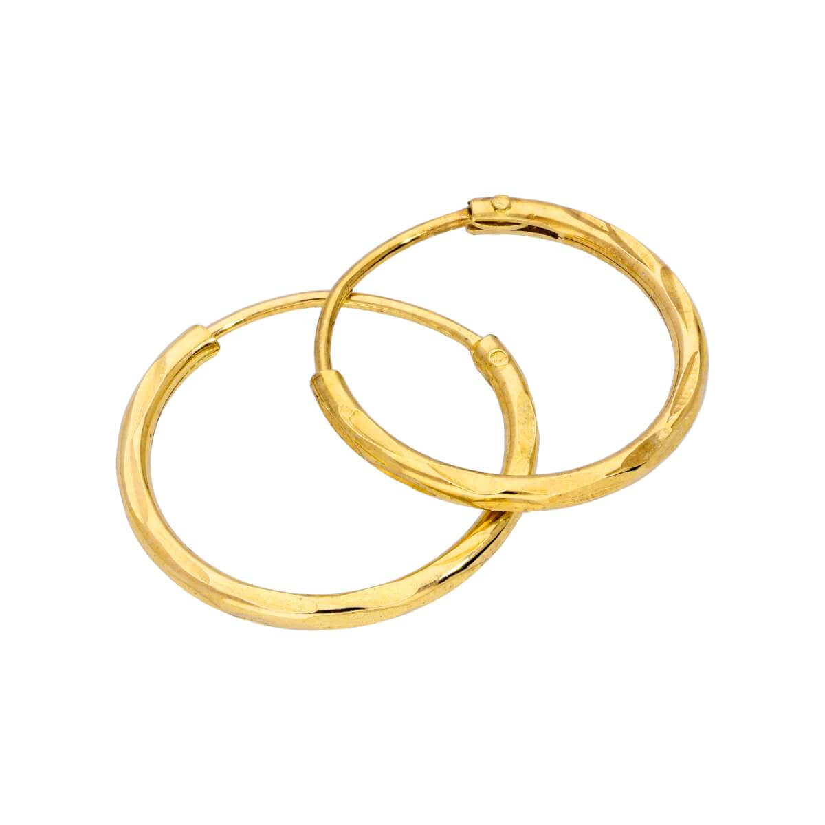 Yellow Gold Plated Sterling Silver Diamond Cut Sleeper 14mm Hoop Earrings