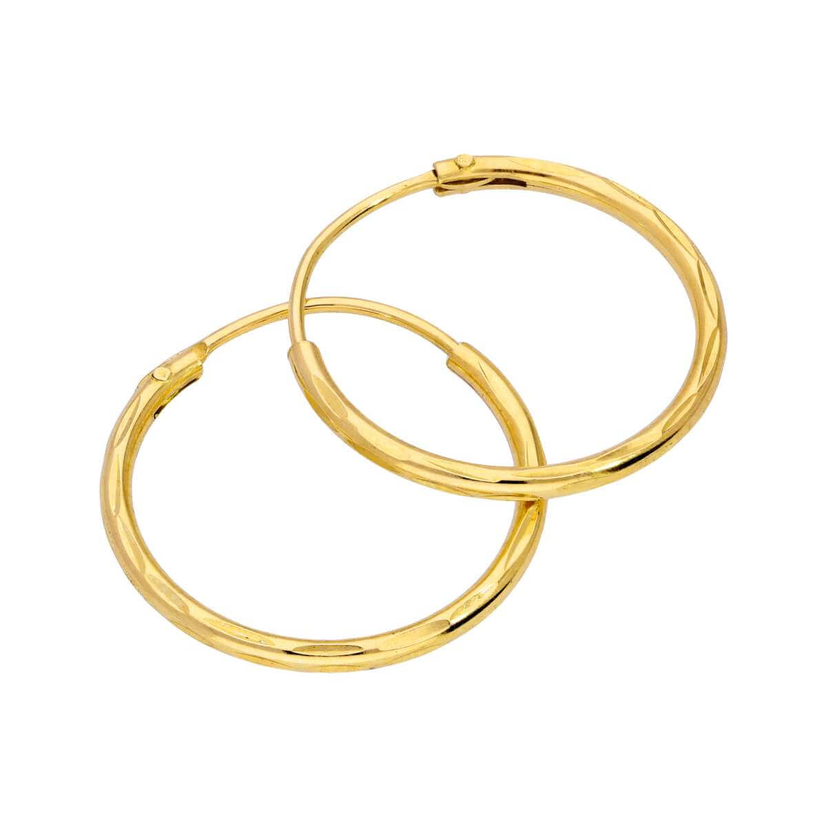 Yellow Gold Plated Sterling Silver Diamond Cut Sleeper 16mm Hoop Earrings