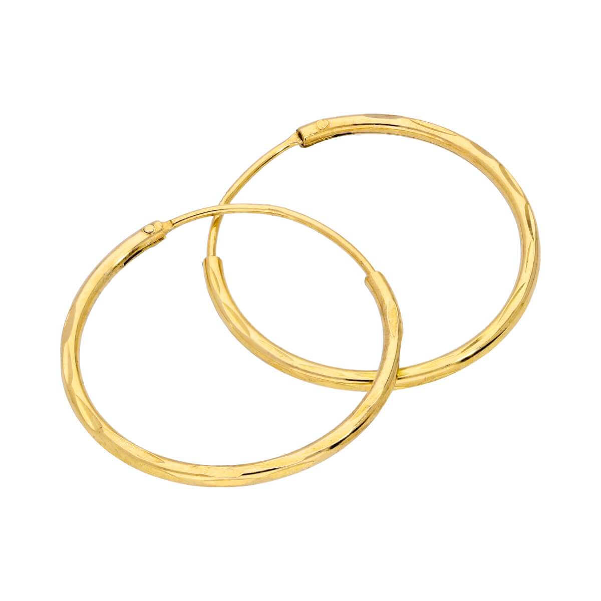 Yellow Gold Plated Sterling Silver Diamond Cut Sleeper 20mm Hoop Earrings