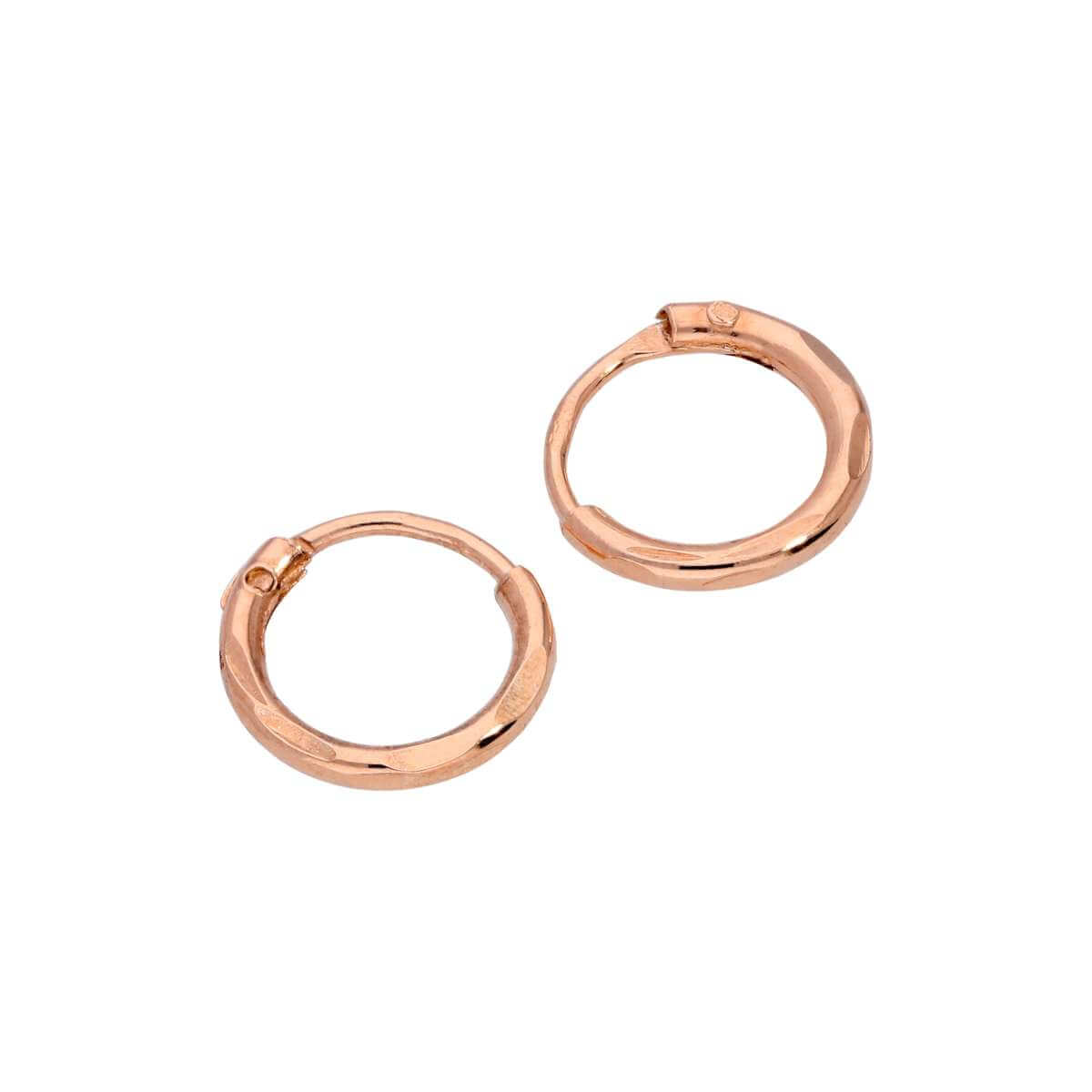 Rose Gold Plated Sterling Silver Diamond Cut Sleeper 8mm Hoop Earrings