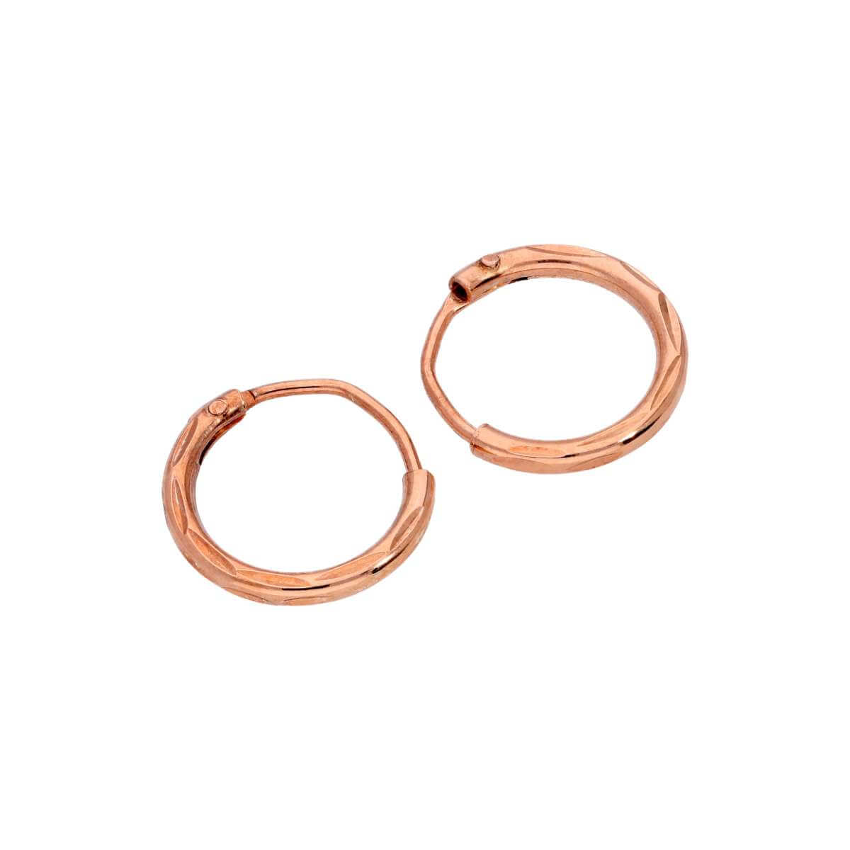 Rose Gold Plated Sterling Silver Diamond Cut Sleeper 10mm Hoop Earrings
