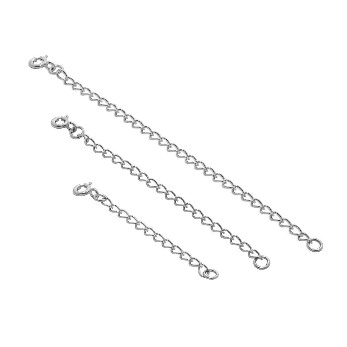 2-4 Inch Sterling Silver Curb Extender Chain with Bolt Clasp