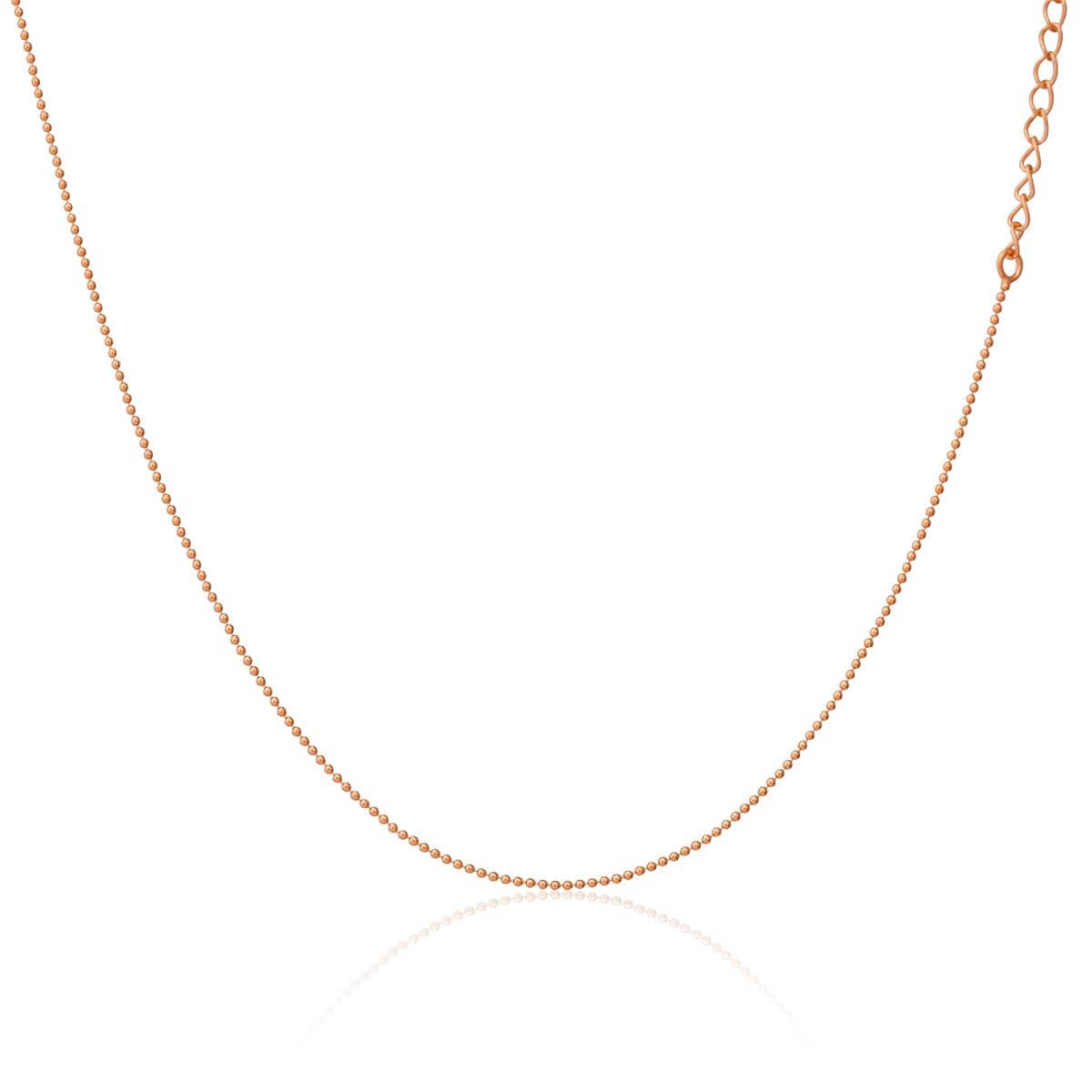 Rose Gold Plated Sterling Silver 1mm Bead Chain Choker 12 + 3 Inches