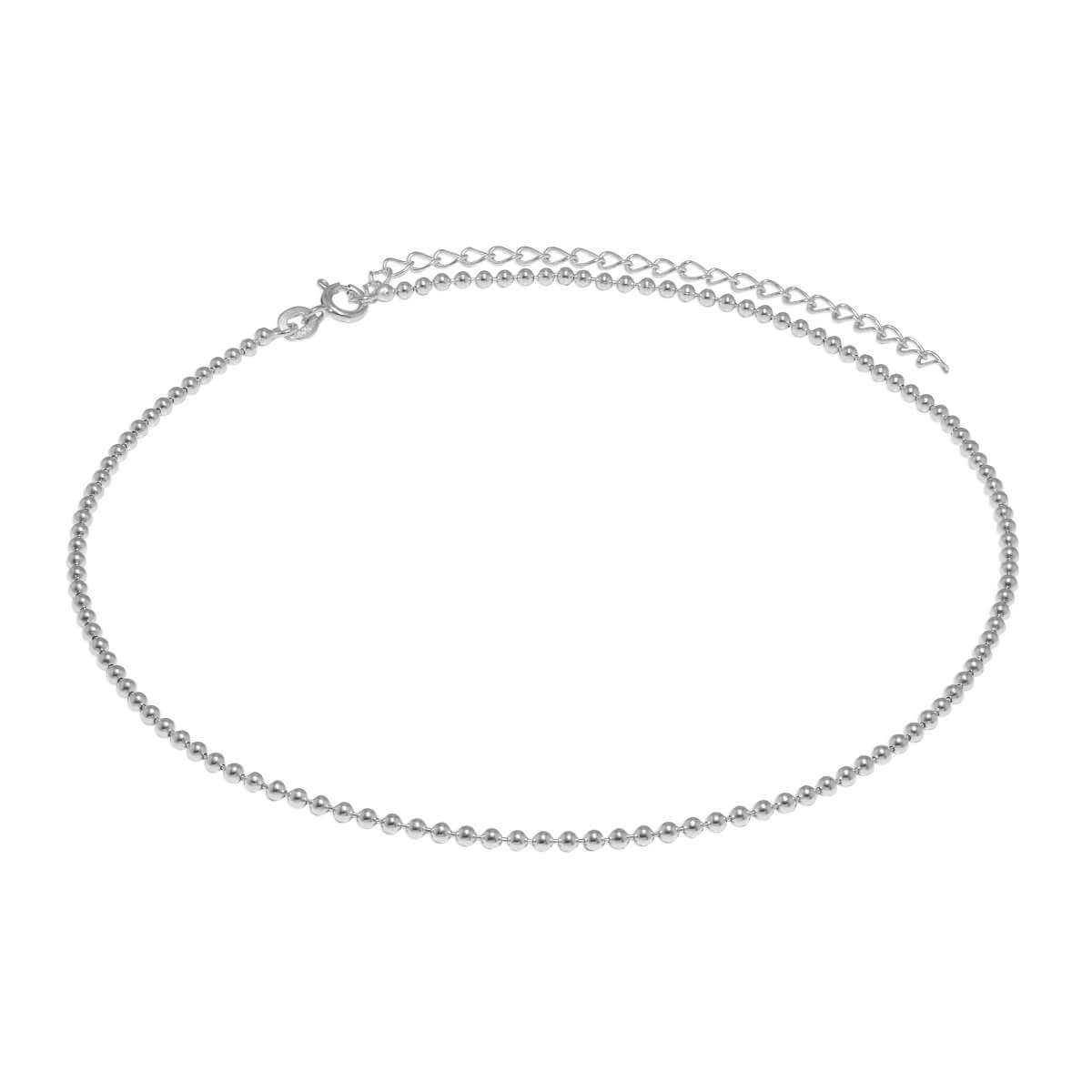 Sterling Silver 2mm Bead Chain Choker 12 Inch + 3 Inch Extender