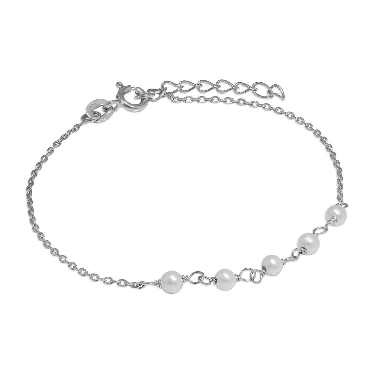 Sterling Silver Fine Bracelet with 3.5mm Pearls