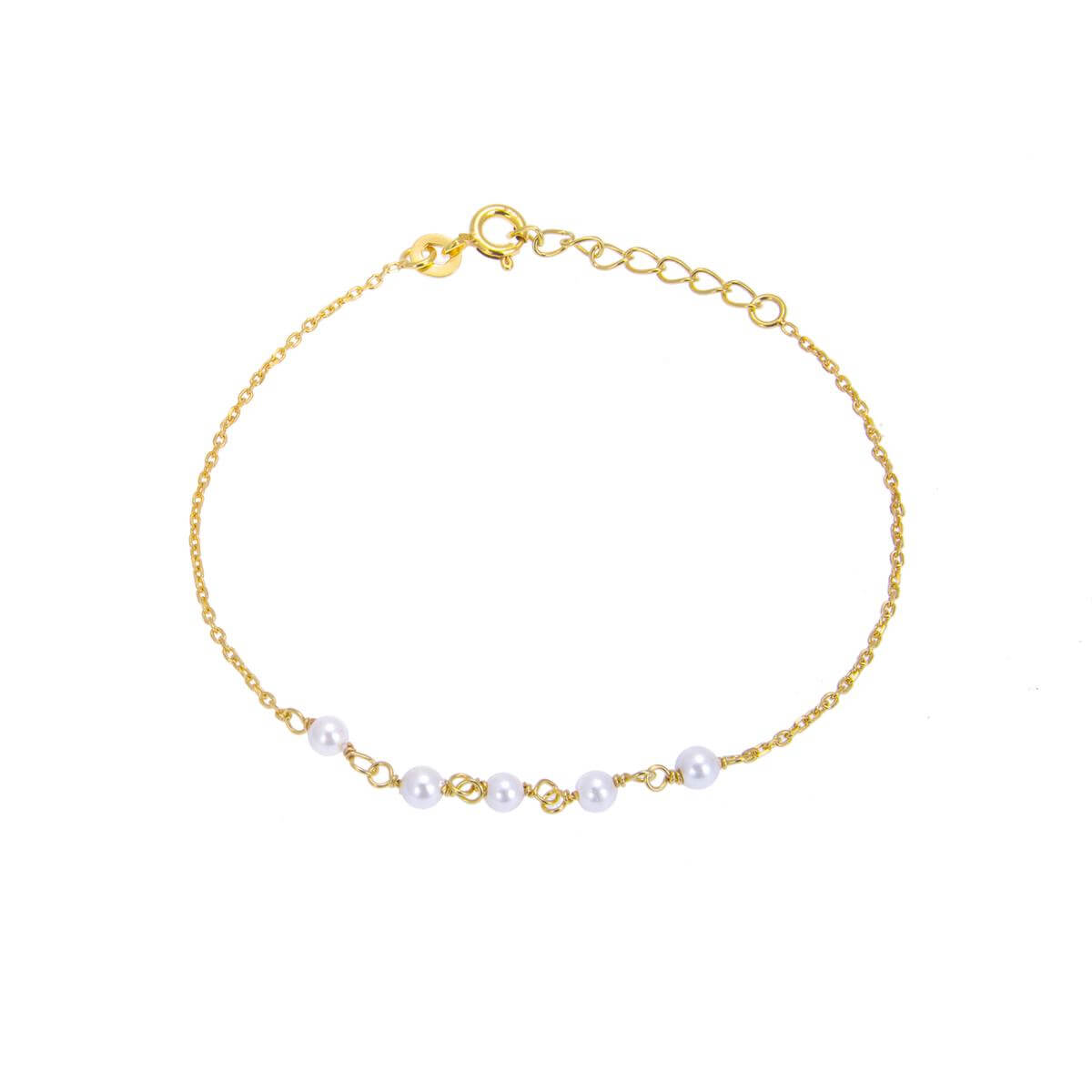 Yellow Gold Plated Sterling Silver Fine Bracelet with 3.5mm Pearls