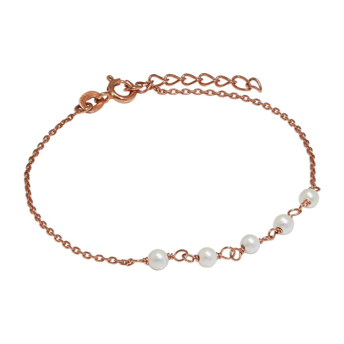 Rose Gold Plated Sterling Silver Fine Bracelet with 3.5mm Pearls