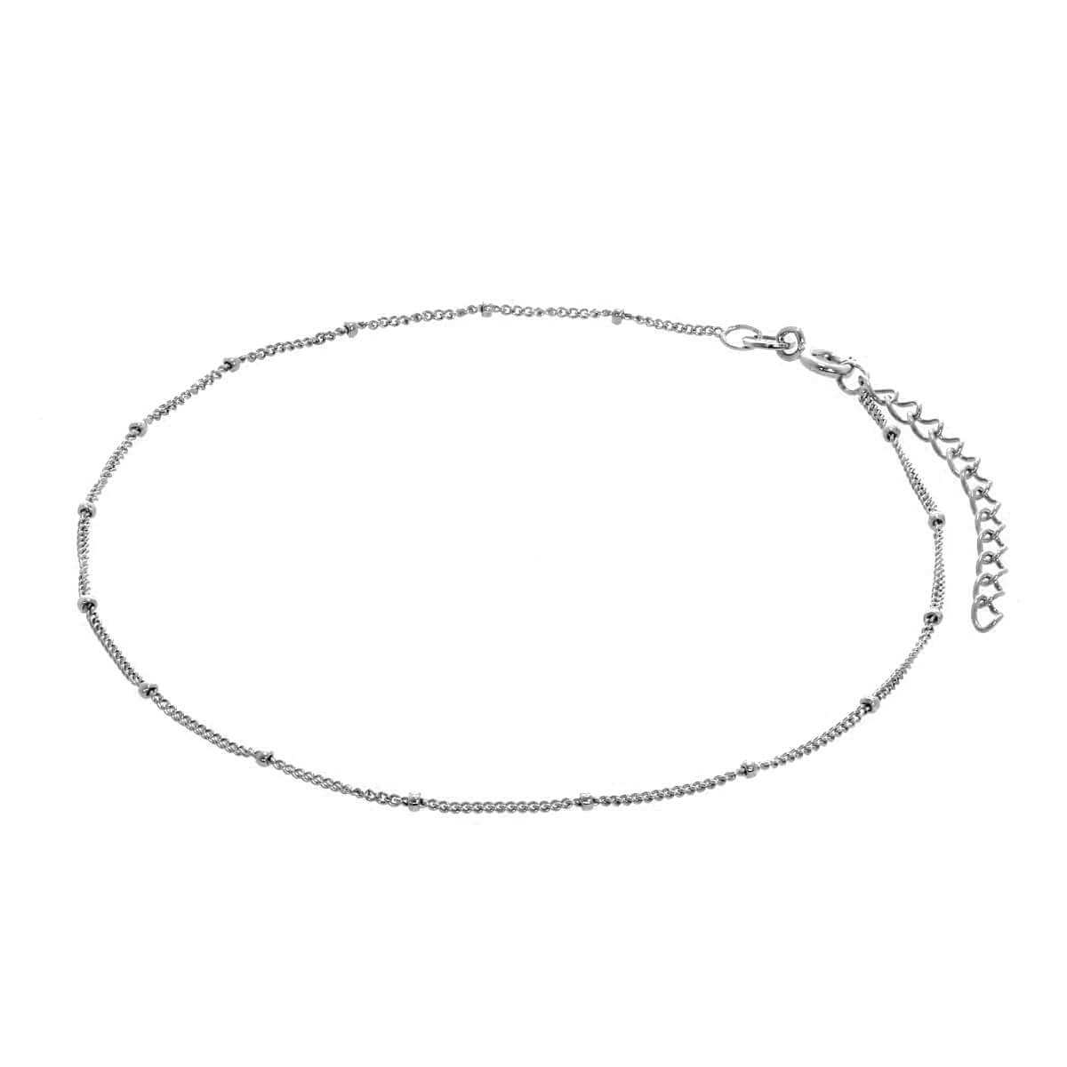 Sterling Silver Bobble Diamond Cut Curb Anklet - 9 + 1.5 Inches