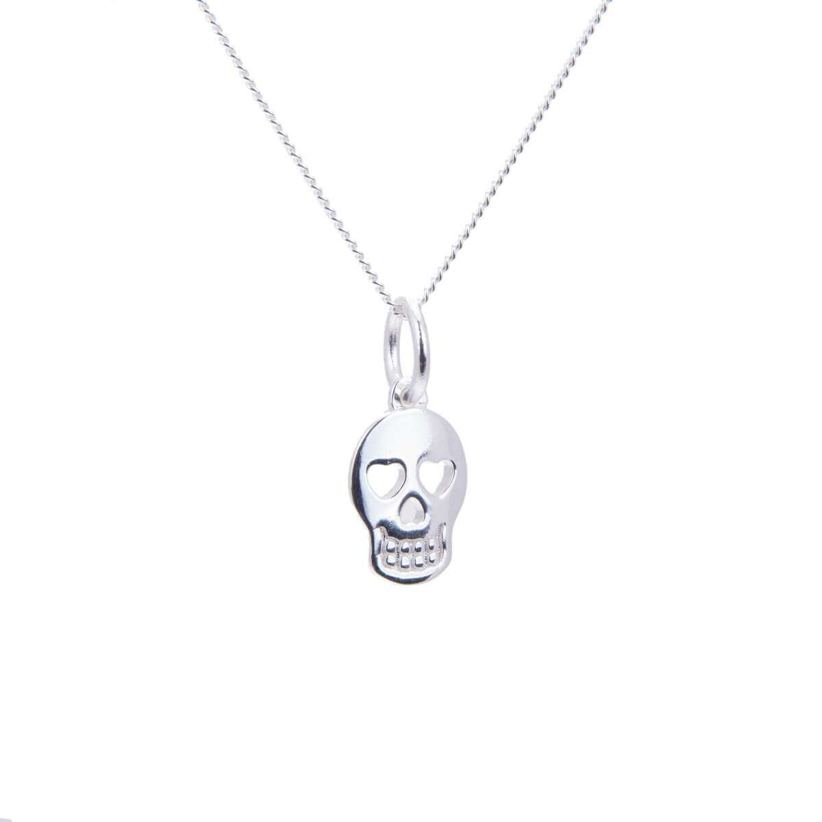Sterling Silver Heart Skull Necklace - 14 - 32 Inches