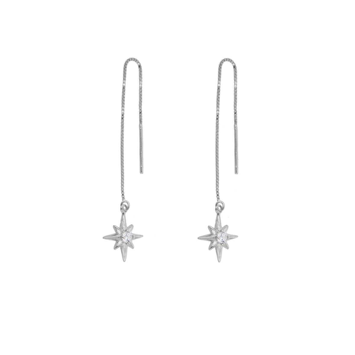 Sterling Silver Starburst Clear CZ Drop Dangle Pull Through Earrings