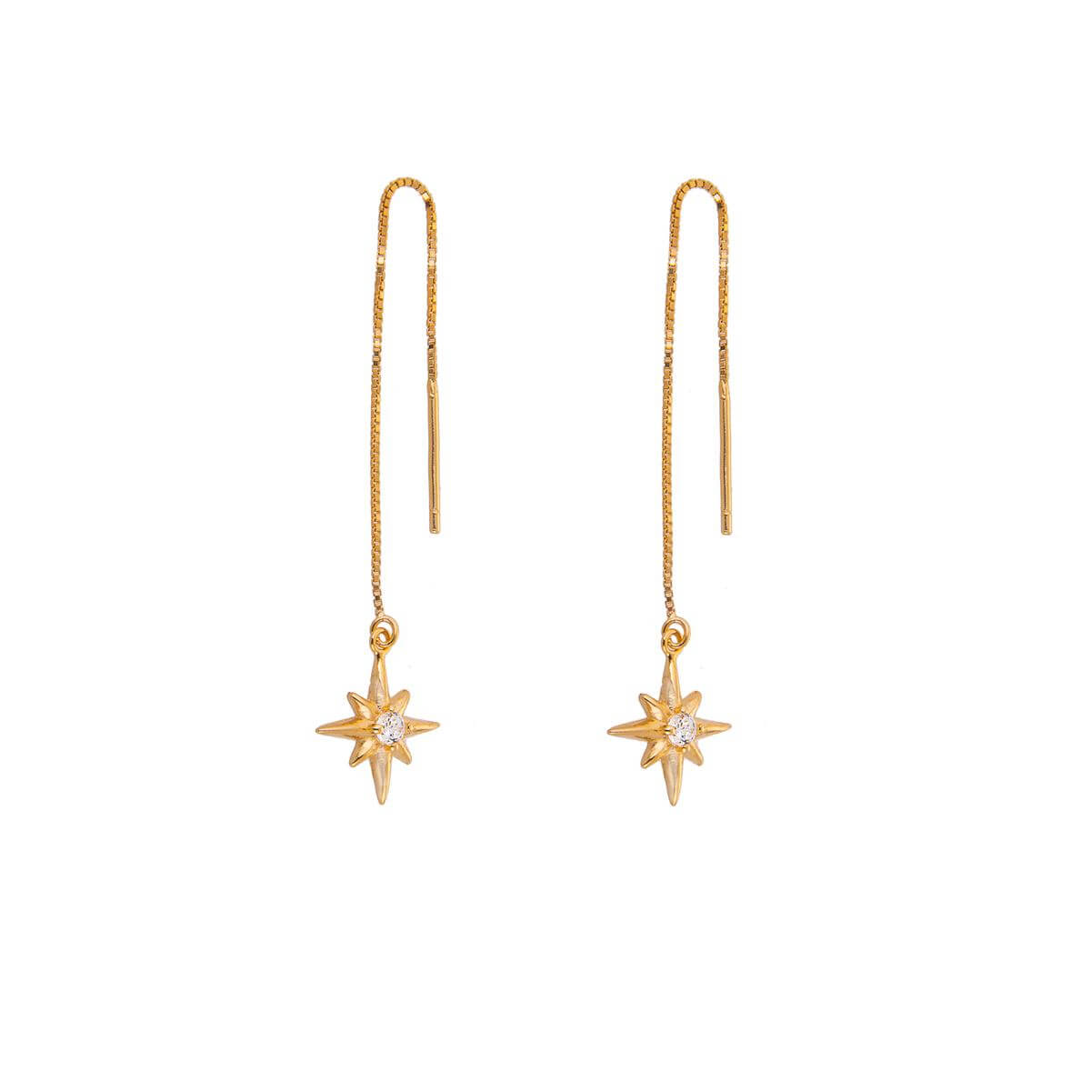 Yellow Gold Plated Sterling Silver Starburst Clear CZ Drop Dangle Pull Through Earrings