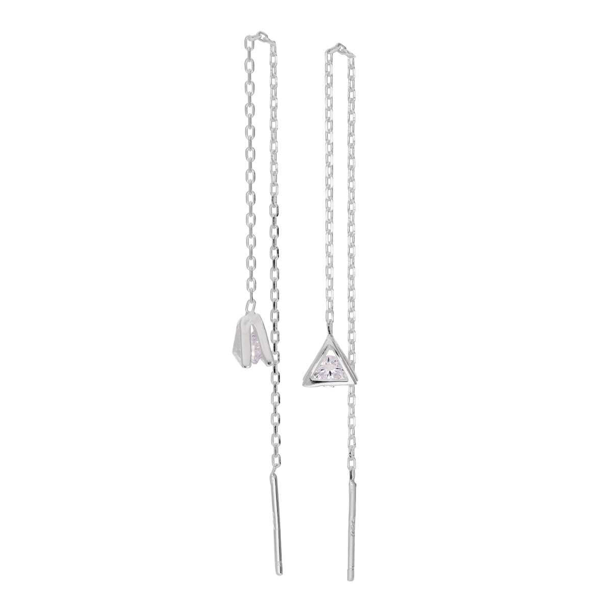 Sterling Silver Triangle Clear CZ Drop Dangle Pull Through Earrings