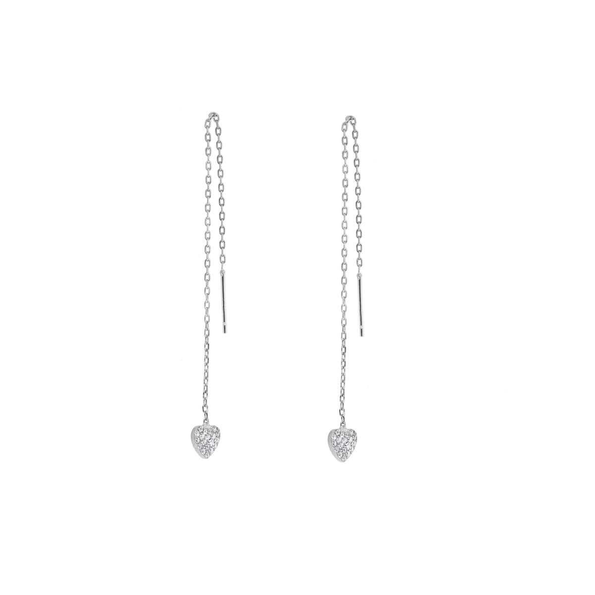 Sterling Silver Heart Clear CZ Pave Drop Dangle Pull Through Earrings