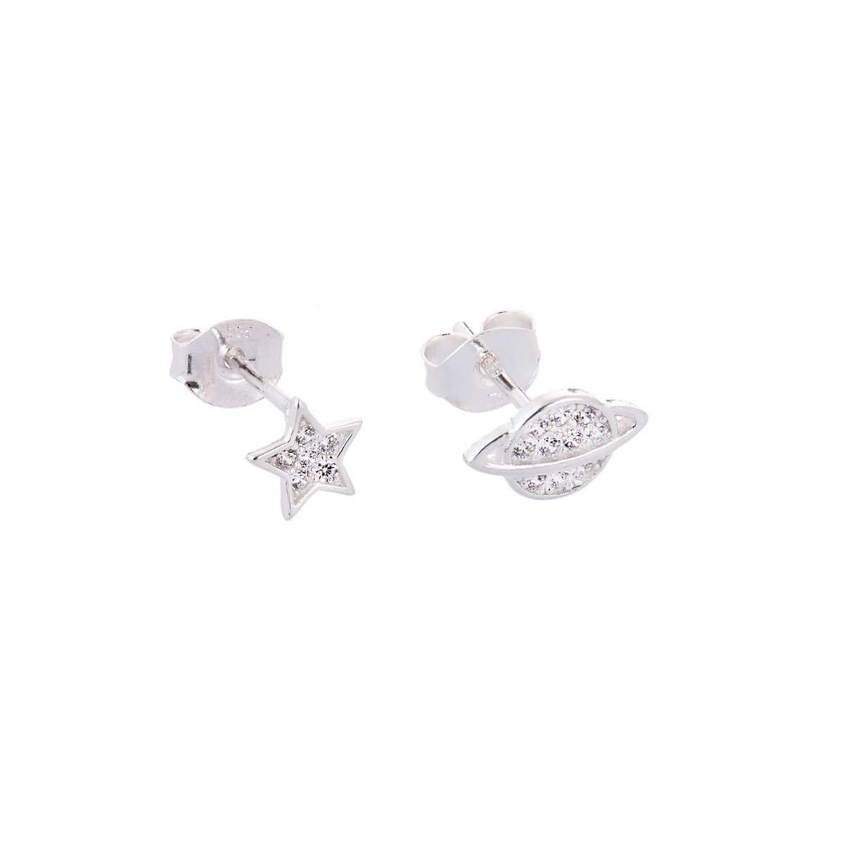 Sterling Silver Star Planet Mix & Match Clear CZ Pave Stud Earrings