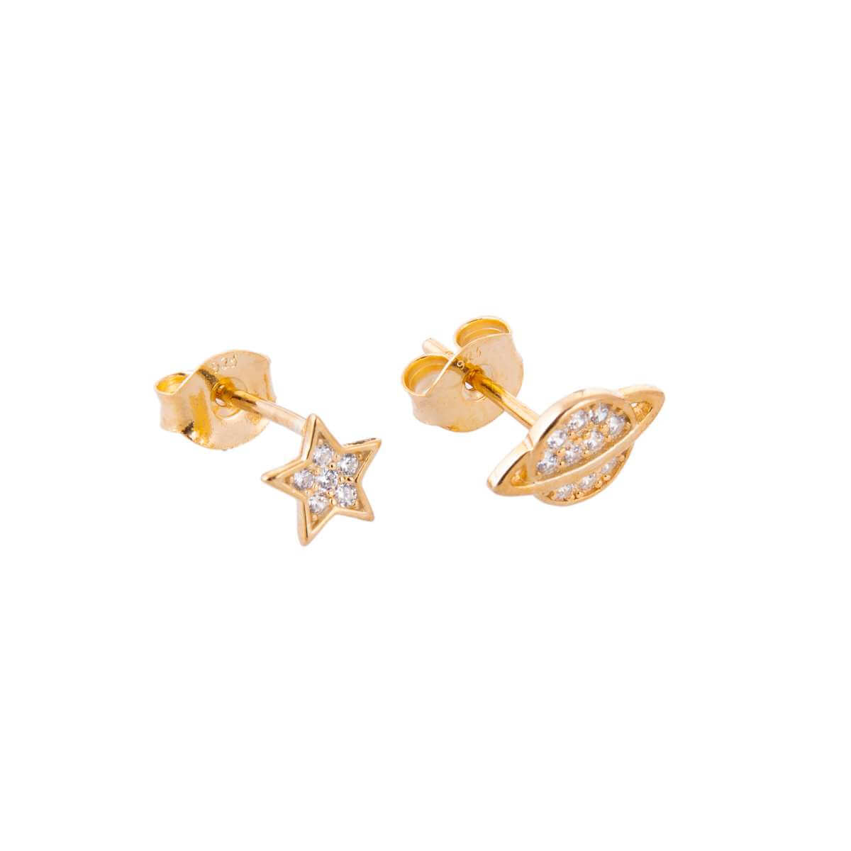 Yellow Gold Plated Sterling Silver Star Planet Mix & Match Clear CZ Pave Stud Earrings