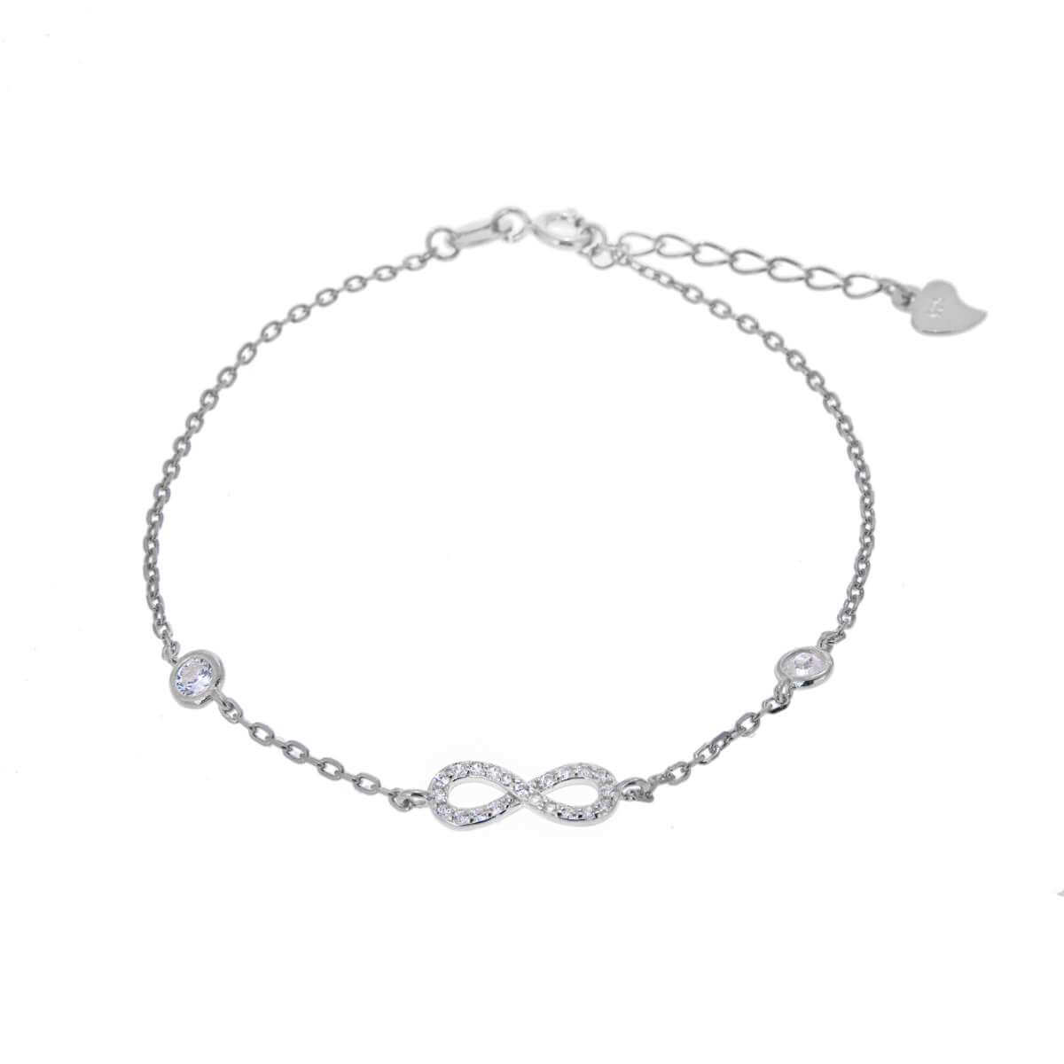 Sterling Silver Infinity & Round Clear CZ Adjustable Bracelet