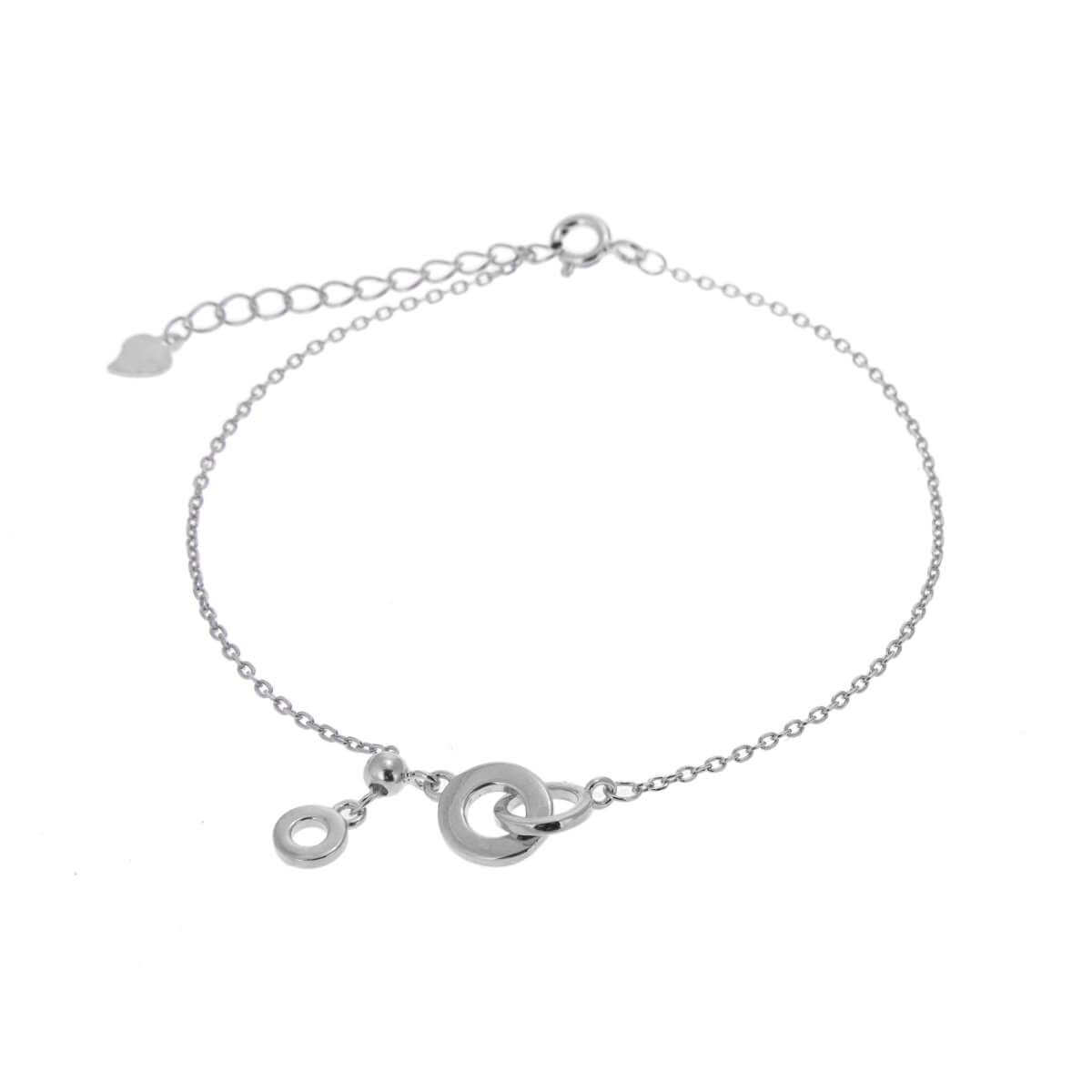 Sterling Silver Interlocking Karma Circles Adjustable Bracelet